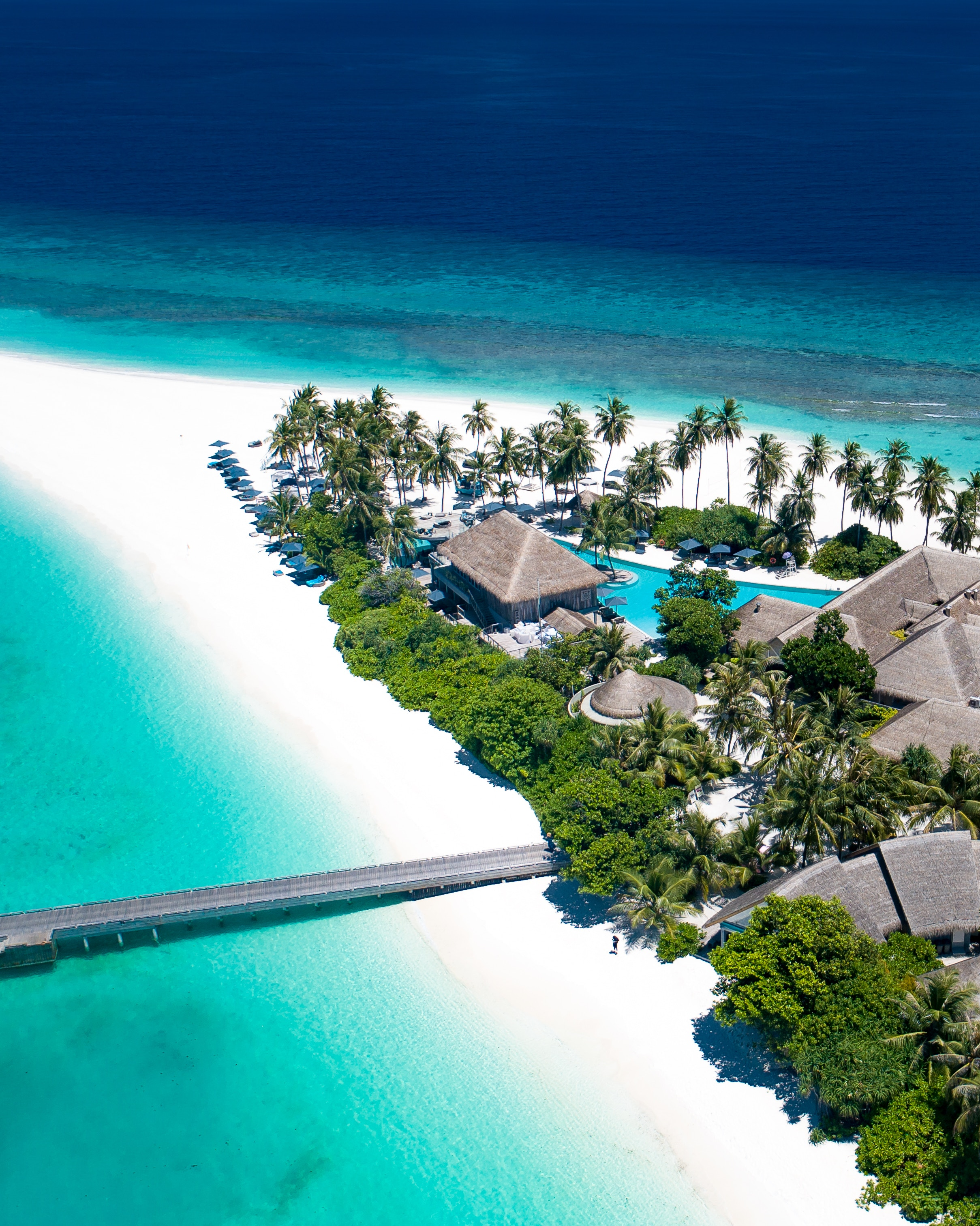 132454 Screensavers and Wallpapers Island for phone. Download Nature, Houses, Beach, Palms, Ocean, Island, Maldives, Small Houses pictures for free