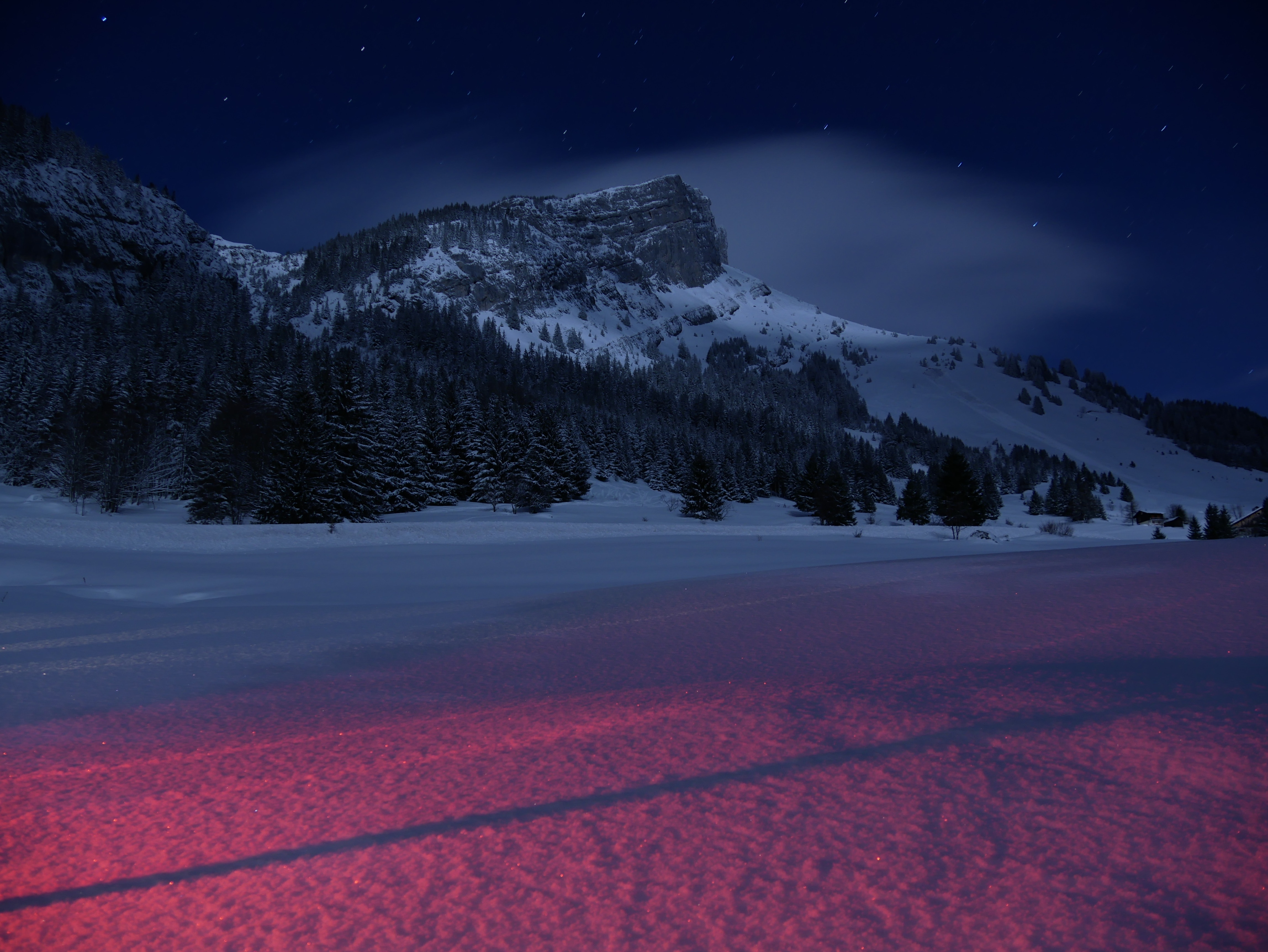 108343 download wallpaper Landscape, Winter, Nature, Mountains, Night, Snow, France screensavers and pictures for free