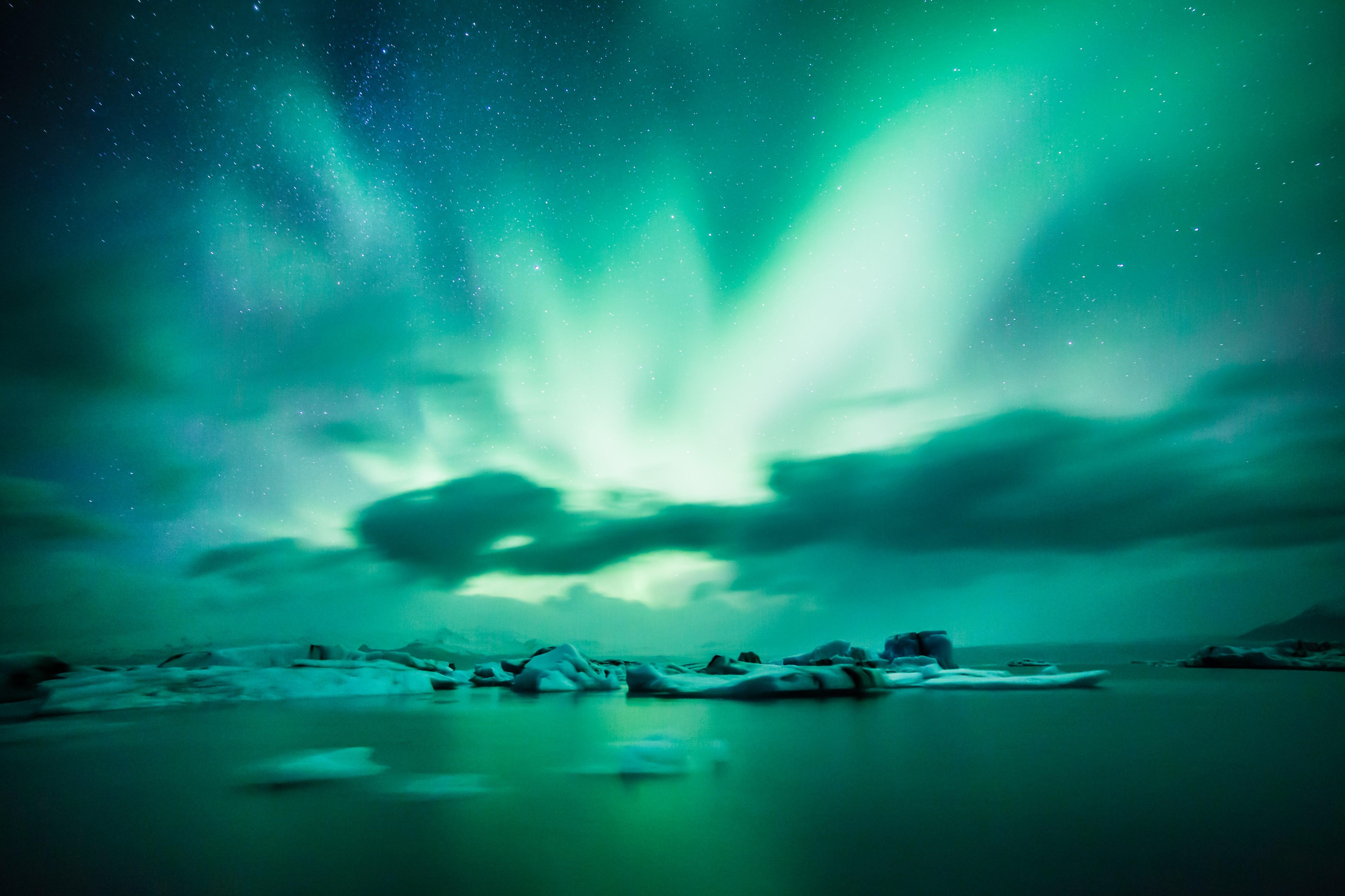56679 Заставки и Обои Лед на телефон. Скачать Лед, Природа, Горизонт, Озеро, Северное Сияние, Аврора, Исландия картинки бесплатно
