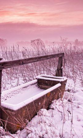 20887 скачать обои Пейзаж, Зима, Закат, Поля - заставки и картинки бесплатно