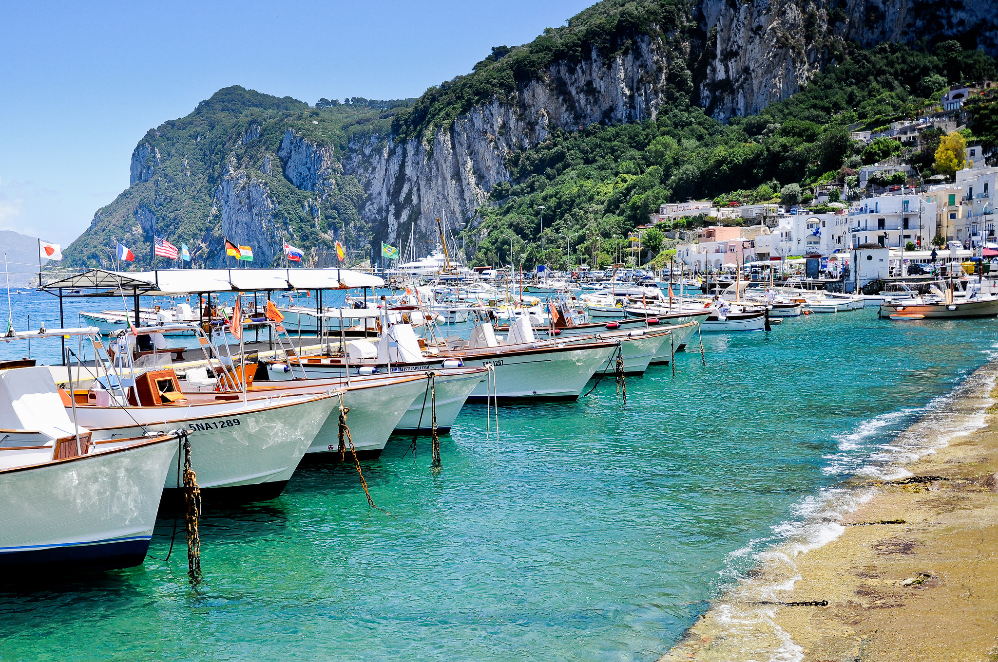 57498 Screensavers and Wallpapers Island for phone. Download Cities, Houses, Sea, Boats, Italy, Rocks, Shore, Bank, Island, Capri pictures for free