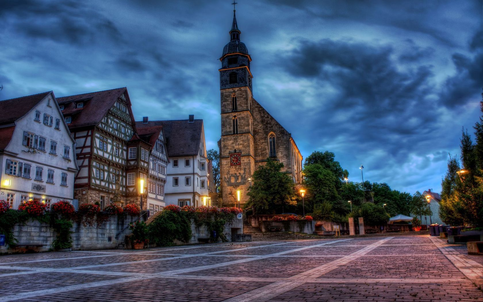 154016 Screensavers and Wallpapers Cities for phone. Download Cities, Flowers, Houses, Building, Square, Hdr, Church, Germany, Area pictures for free