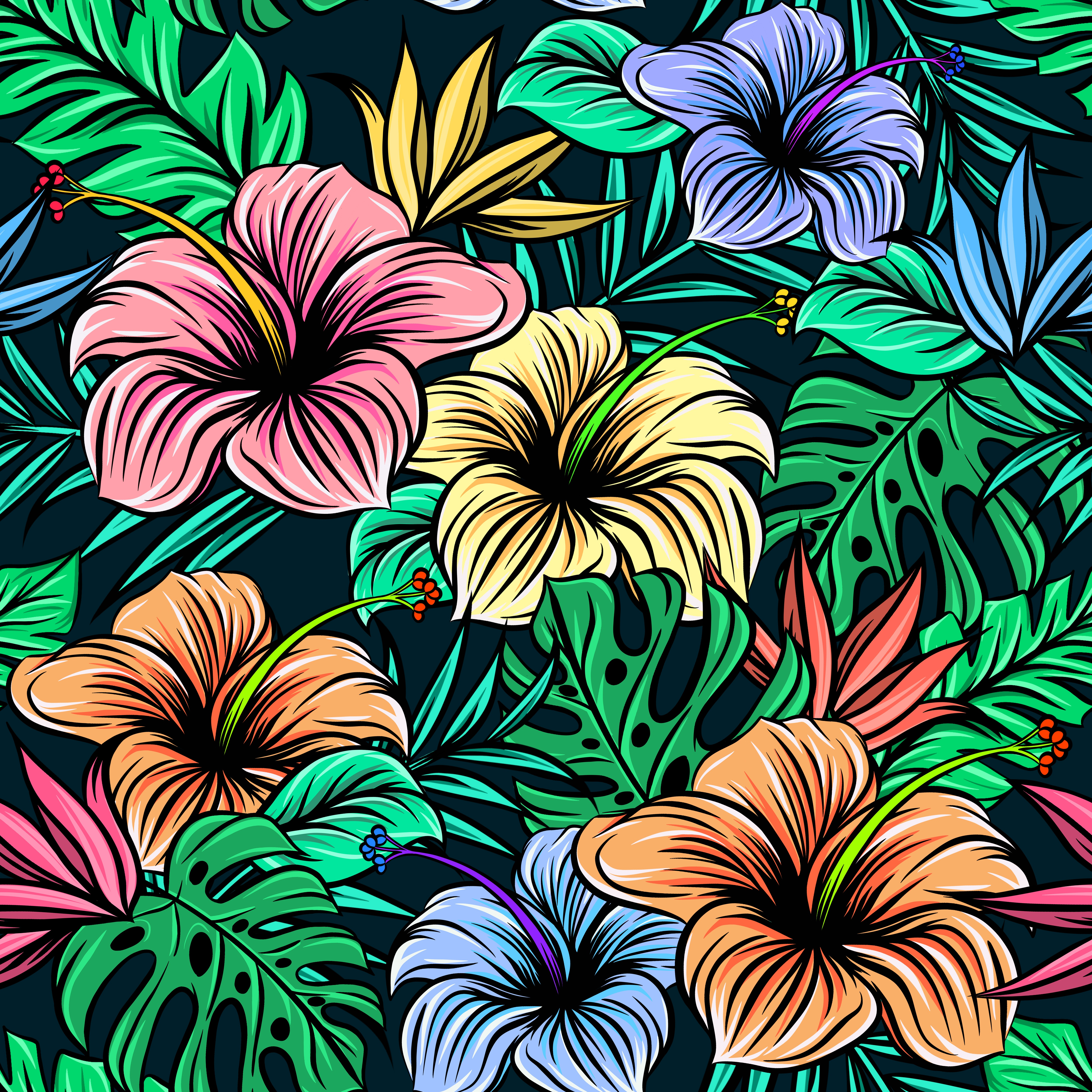 81076 download wallpaper Flowers, Leaves, Patterns, Vector, Hibiscus, Exotic screensavers and pictures for free