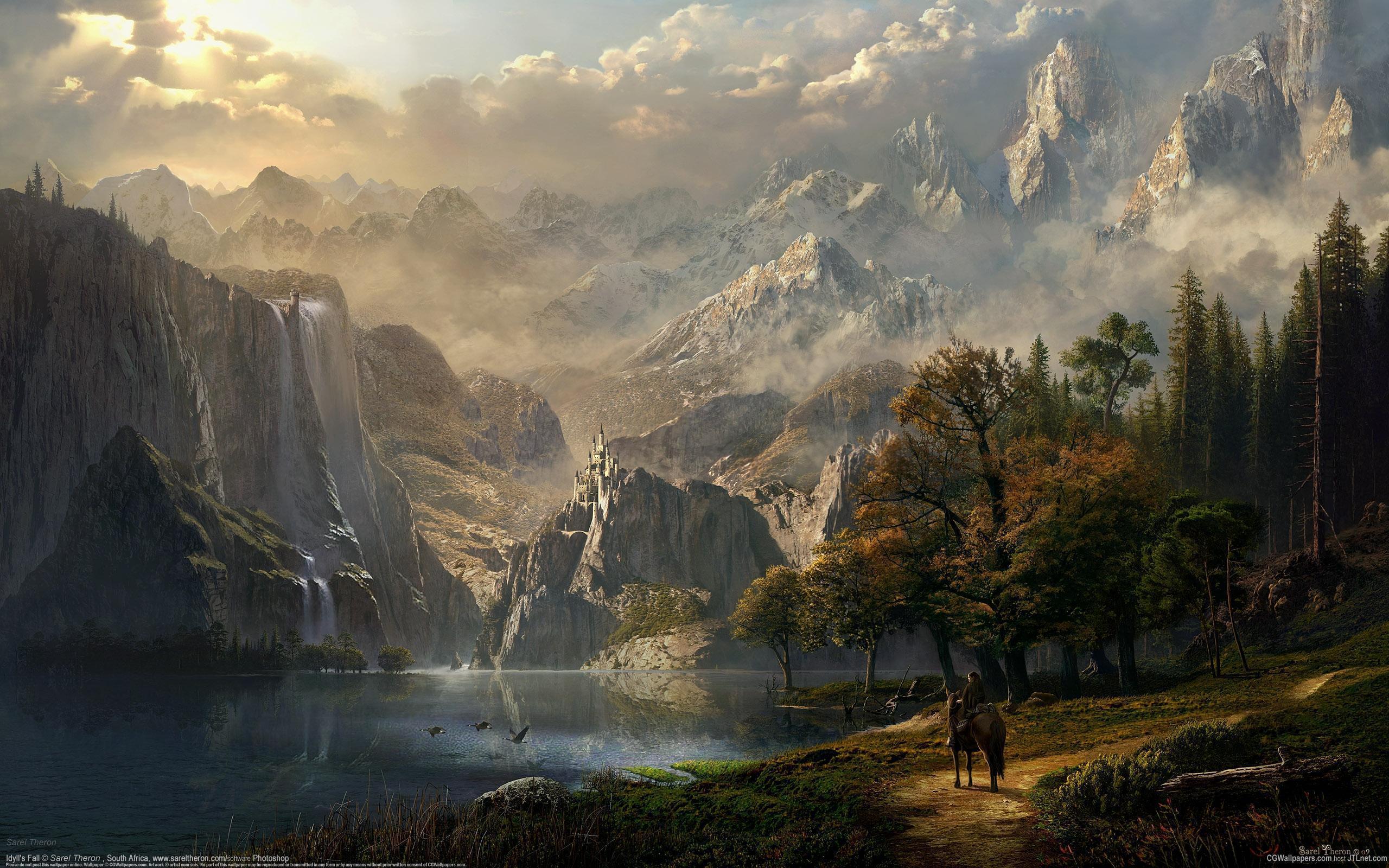 25729 скачать обои Пейзаж, Река, Деревья, Горы, Лошади, Рисунки - заставки и картинки бесплатно