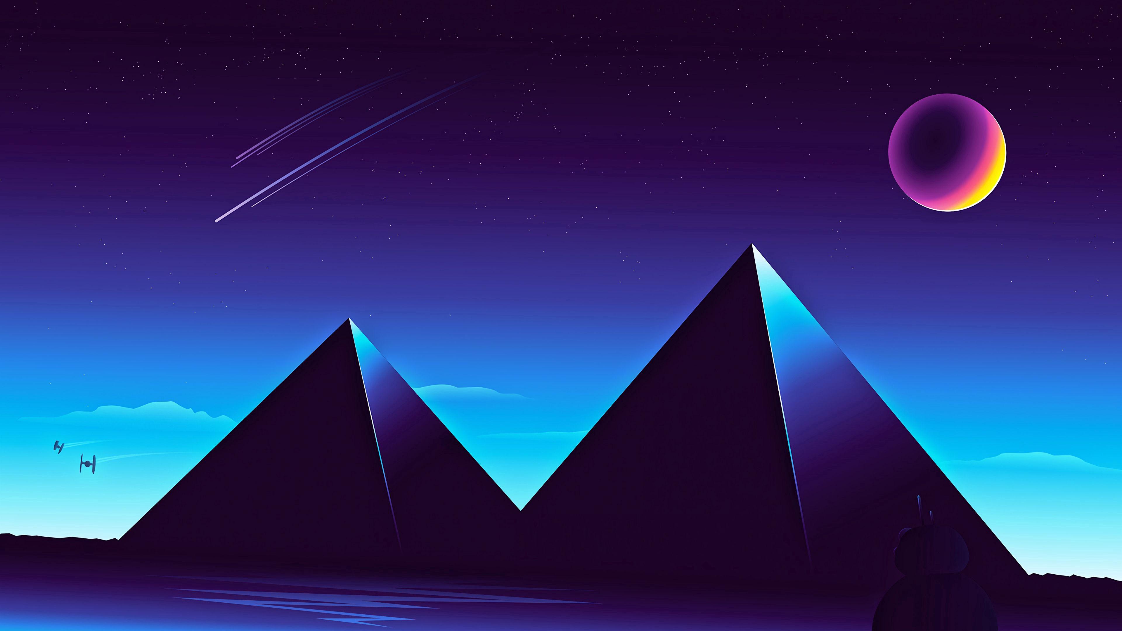 手機的64370屏保和壁紙黑暗。 免費下載 向量, 矢量, 星空, 夜, 黑暗的, 黑暗, 金字塔 圖片