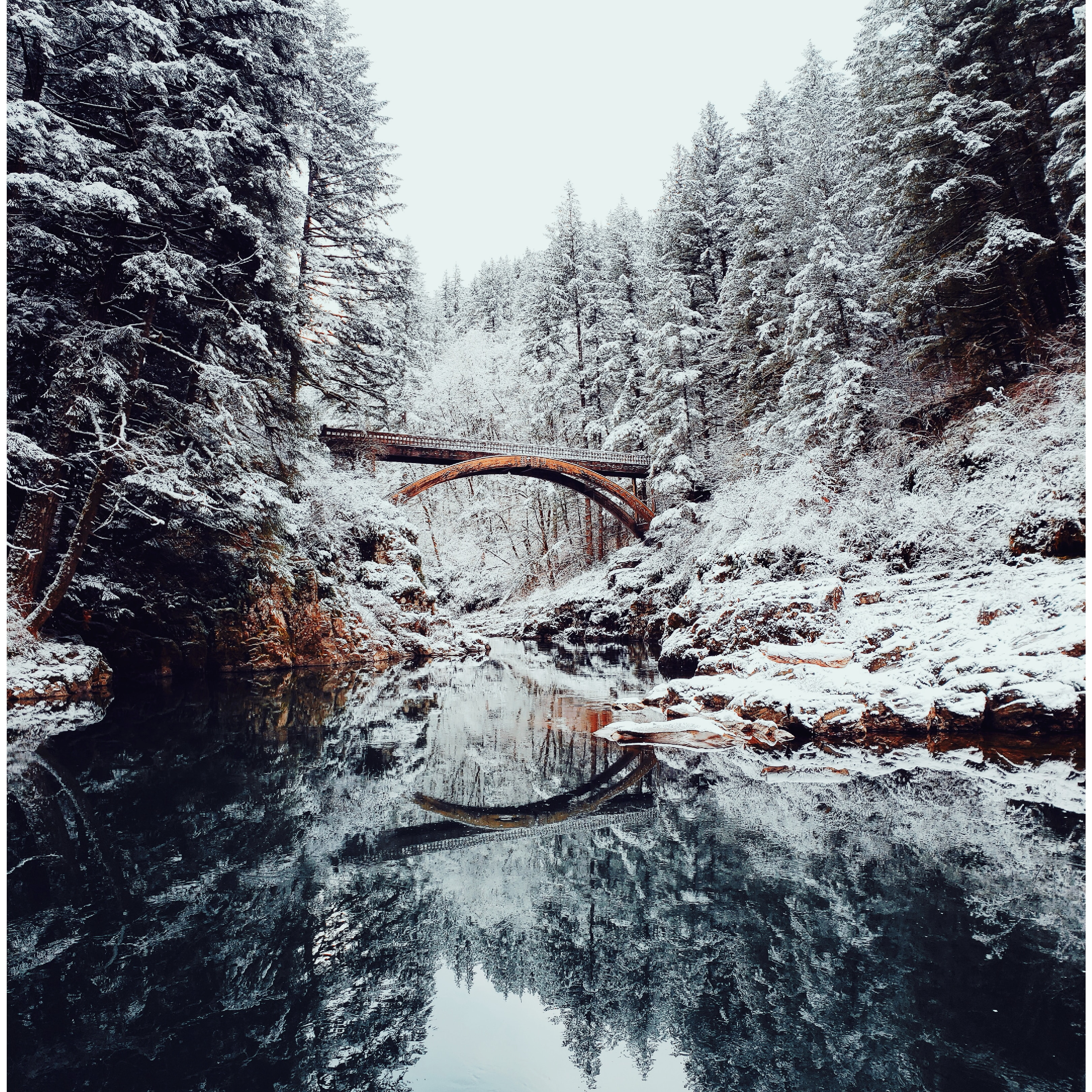 153192 free wallpaper 320x480 for phone, download images Landscape, Winter, Nature, Rivers, Snow, Bridge 320x480 for mobile