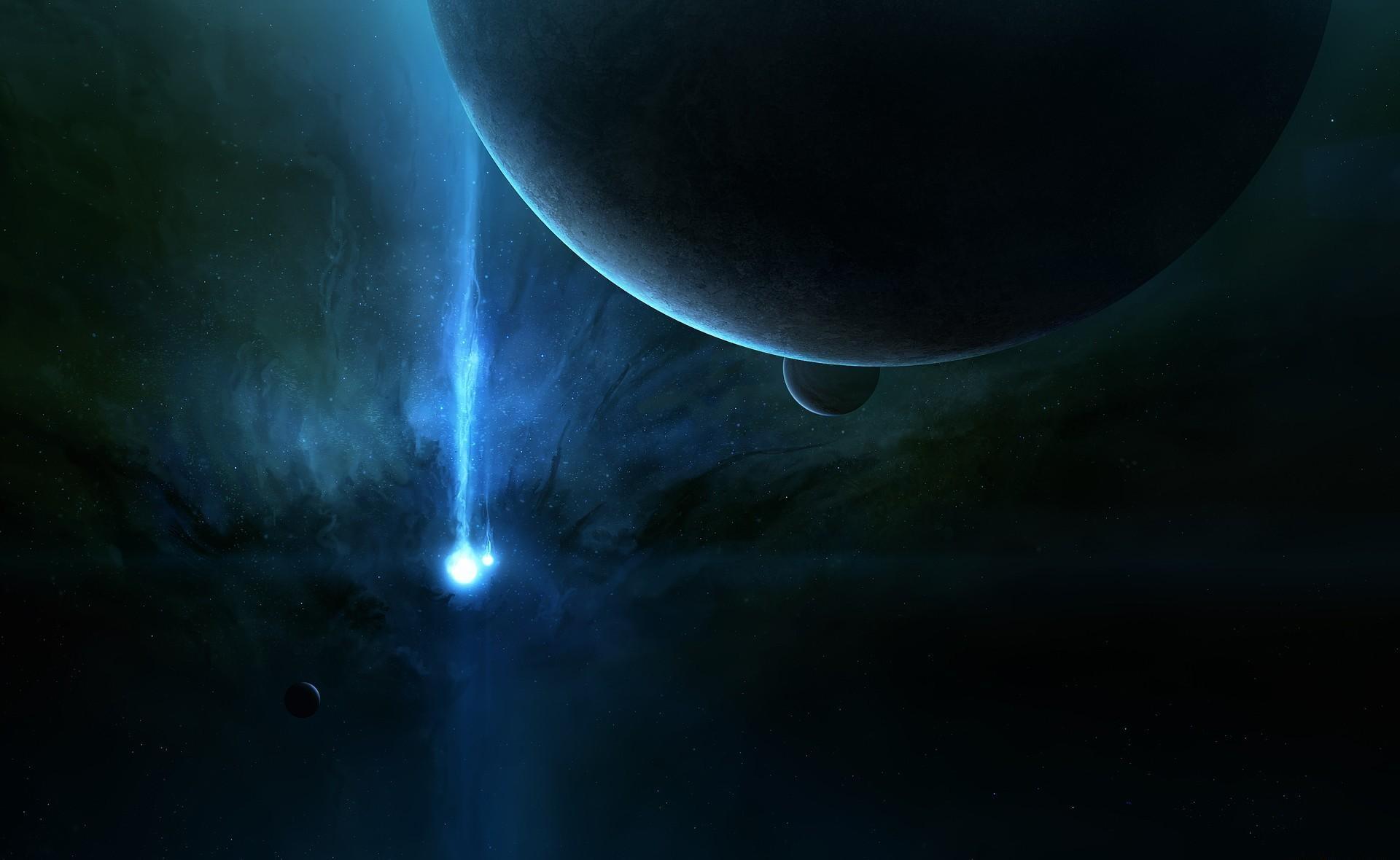 149039 Hintergrundbild herunterladen Universum, Scheinen, Licht, Platz, Raum, Strahl, Planet, Planeten, Ray - Bildschirmschoner und Bilder kostenlos