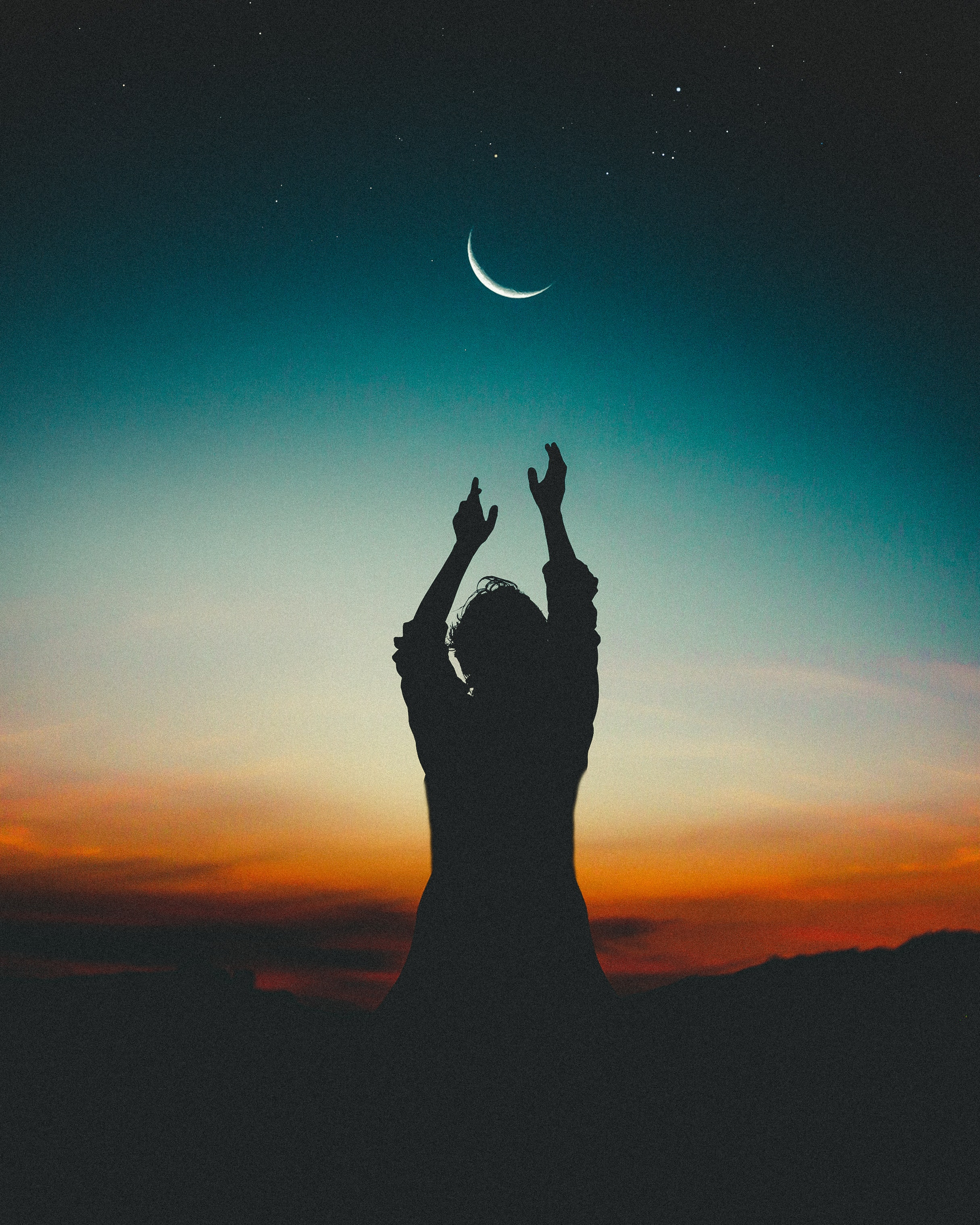 154689 free wallpaper 320x480 for phone, download images Sky, Night, Moon, Dark, Silhouette, Human, Person 320x480 for mobile