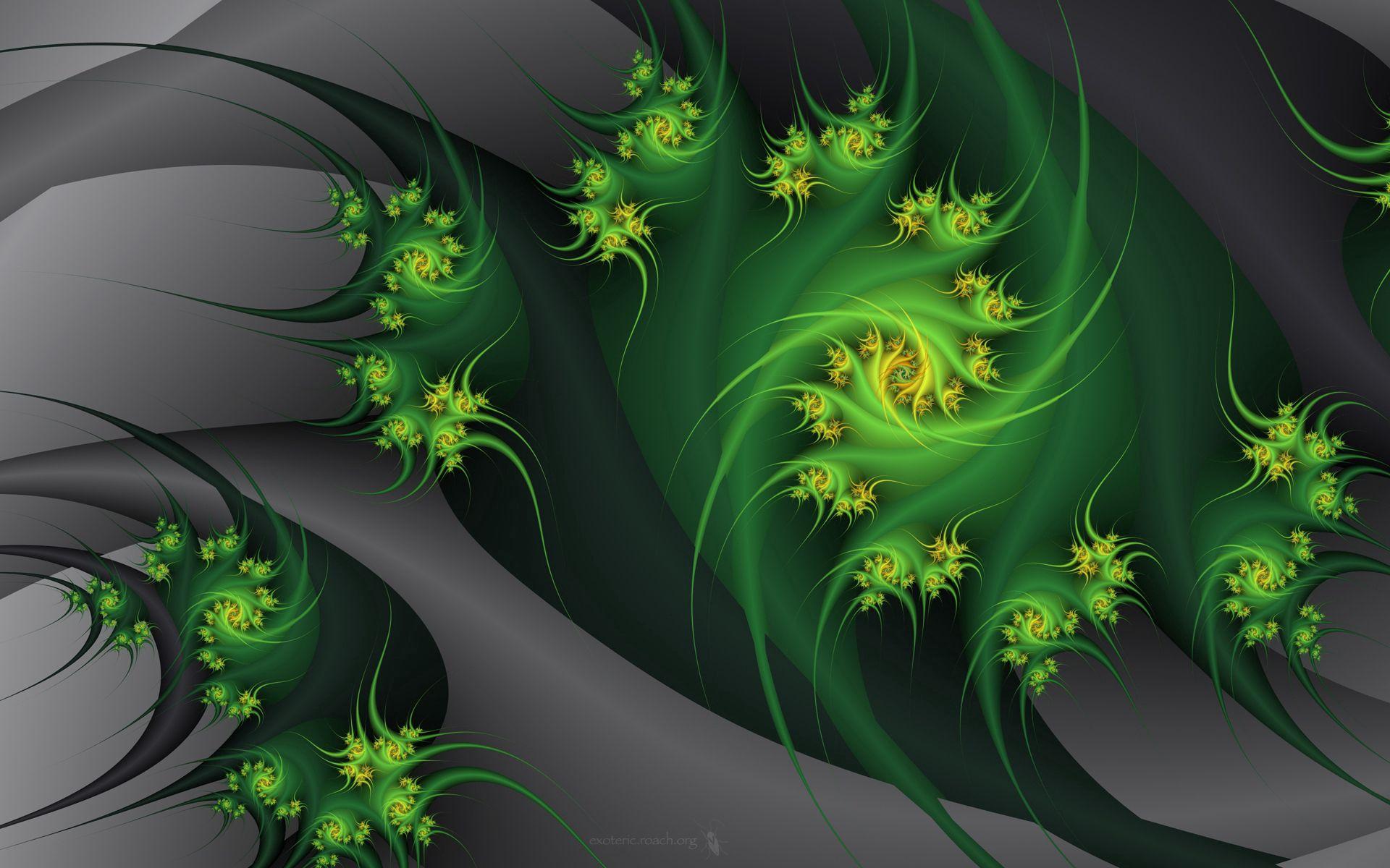 90539 скачать обои Абстракция, Объятия, Фрактал, Серый, Зеленый, Растение, Цветы - заставки и картинки бесплатно