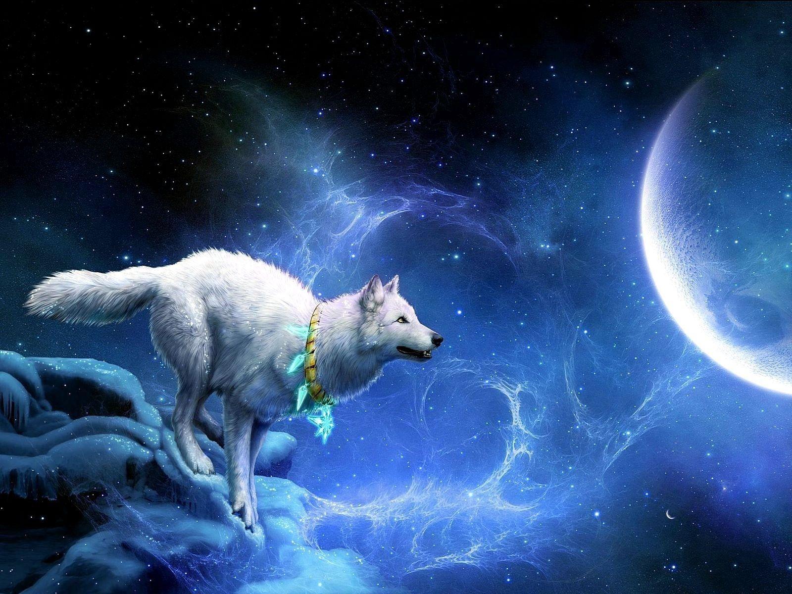101045 скачать обои Луна, Фэнтези, Волк, Обрыв, Заезды - заставки и картинки бесплатно