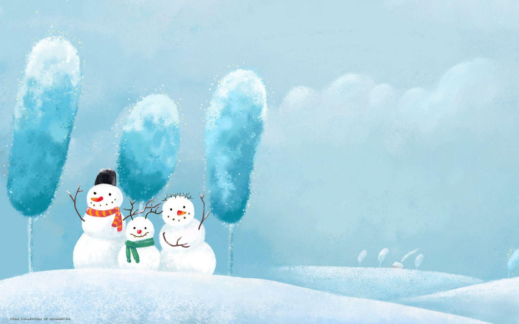 17837 скачать обои Зима, Снег, Рисунки, Снеговики - заставки и картинки бесплатно