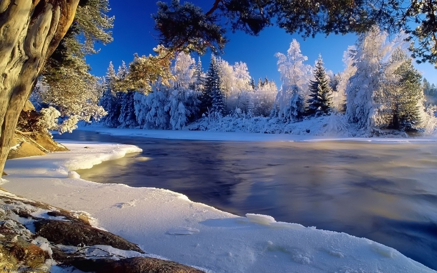 45783 download wallpaper Landscape, Winter, Rivers screensavers and pictures for free