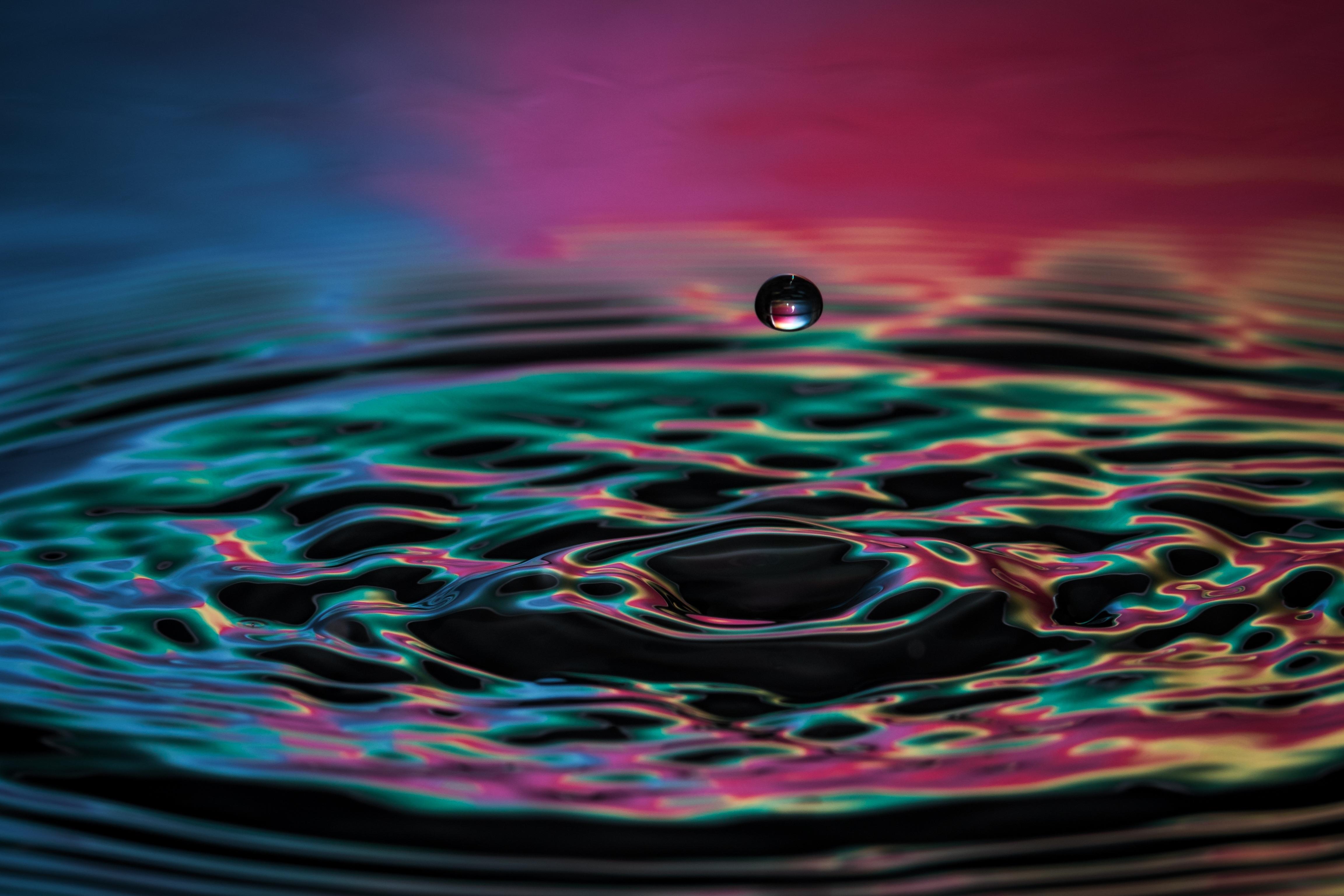 76541 download wallpaper Macro, Drop, Liquid, Spray, Color, Splash screensavers and pictures for free