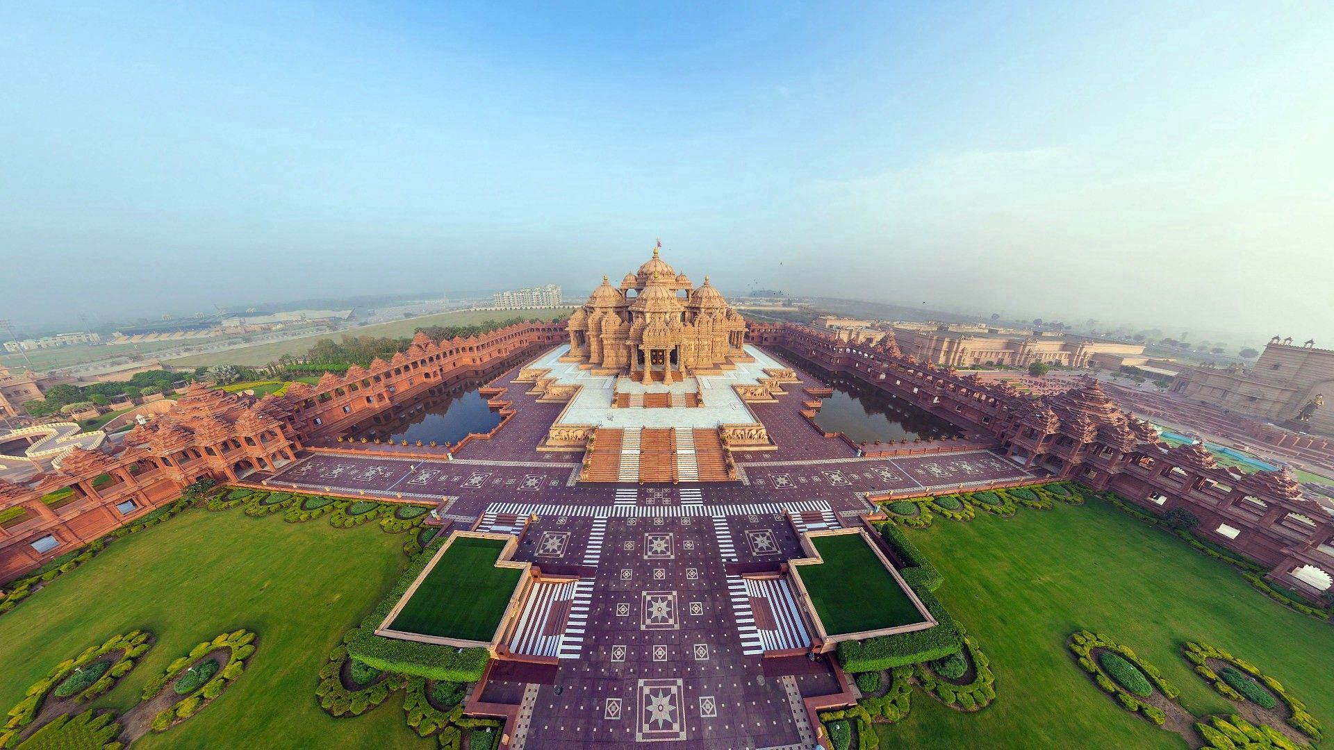 98644 Screensavers and Wallpapers Handsomely for phone. Download Cities, View From Above, Panorama, Handsomely, It's Beautiful, India, Akshardham Temple pictures for free