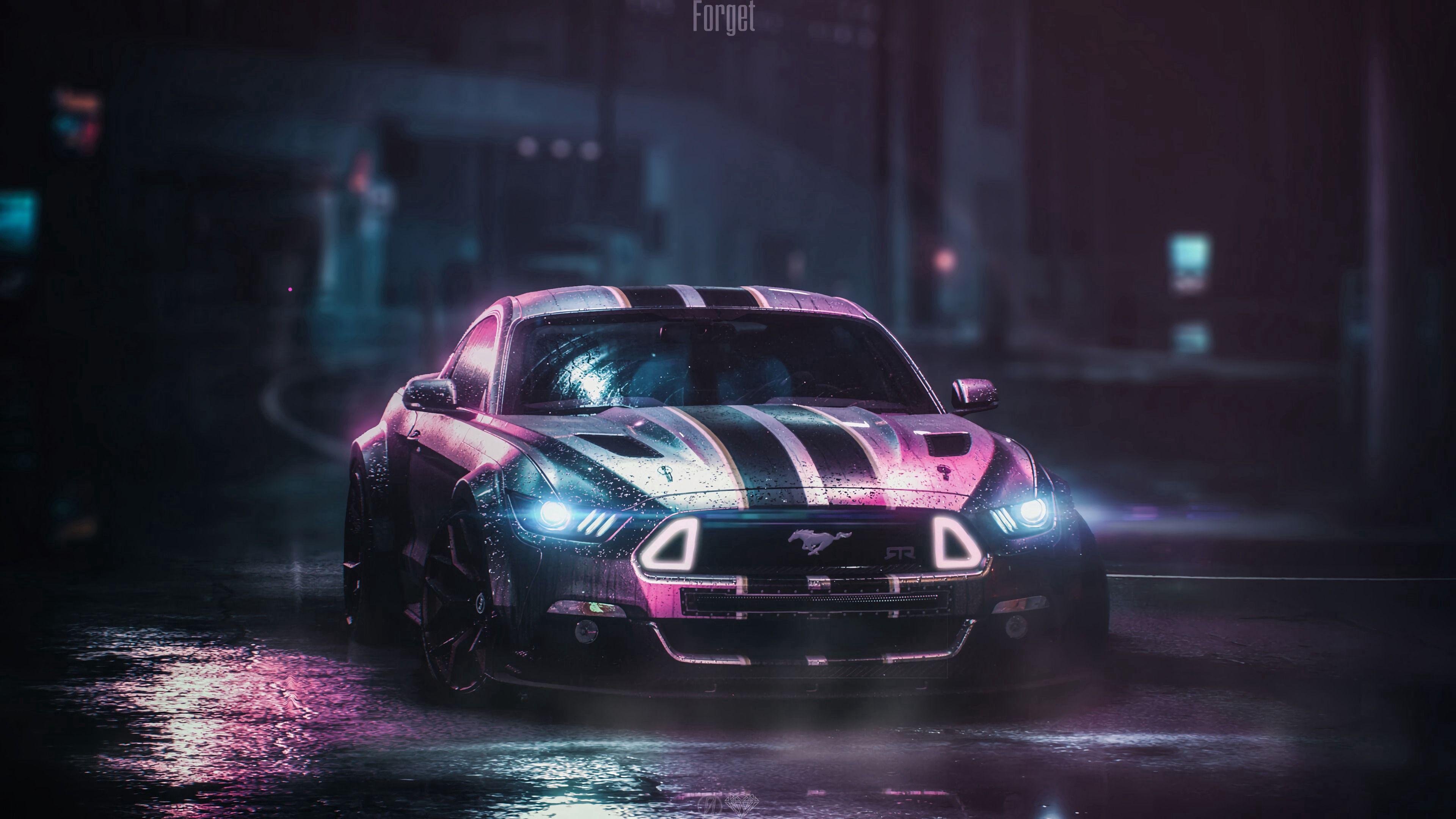 124039 Hintergrundbild herunterladen Auto, Ford, Cars, Übernachtung, Nass, Maschine, Neon, Ford Mustang Gt, Ford Mustang Gtr - Bildschirmschoner und Bilder kostenlos