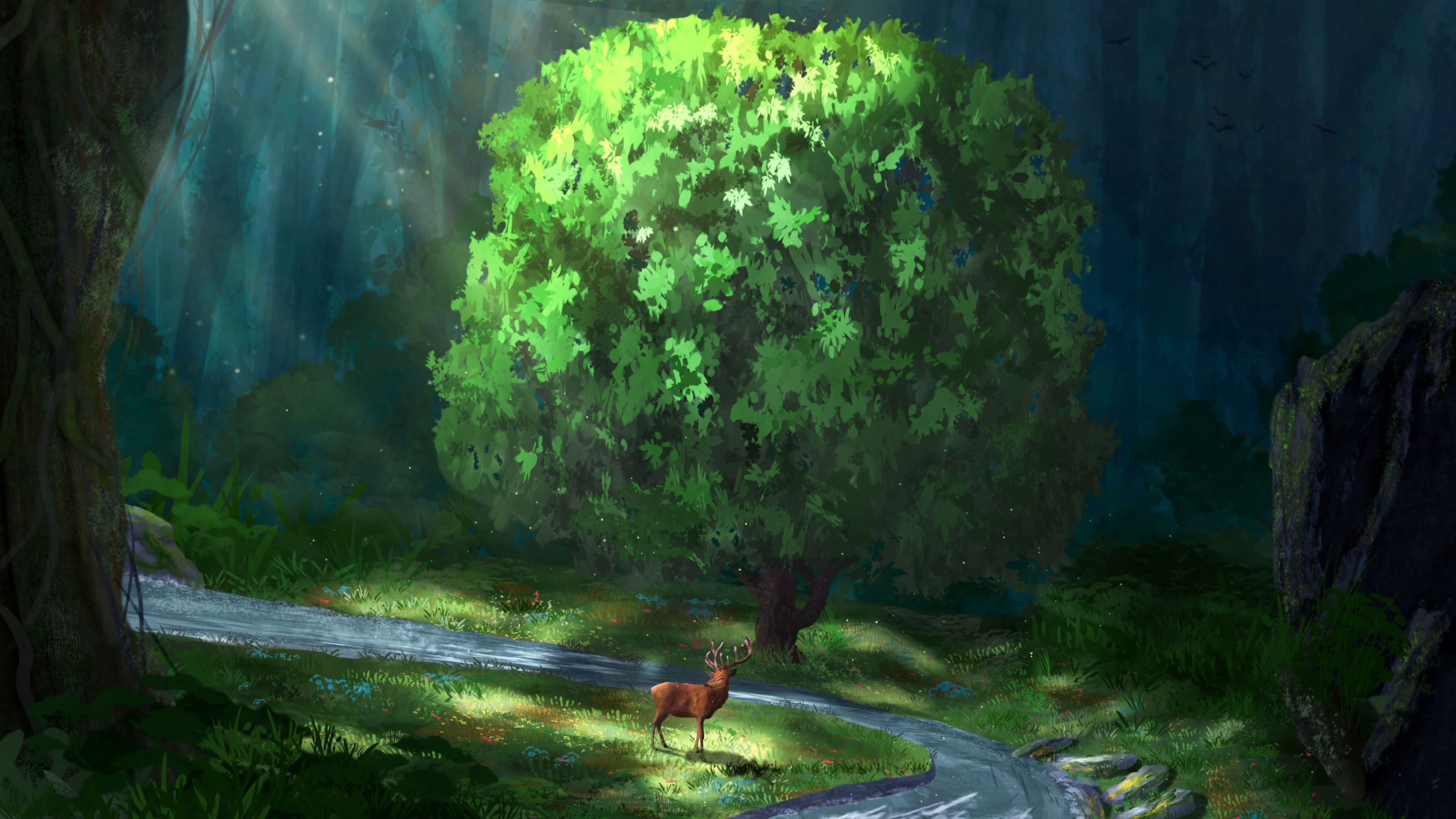 126392 download wallpaper Deer, Rivers, Forest, Art screensavers and pictures for free