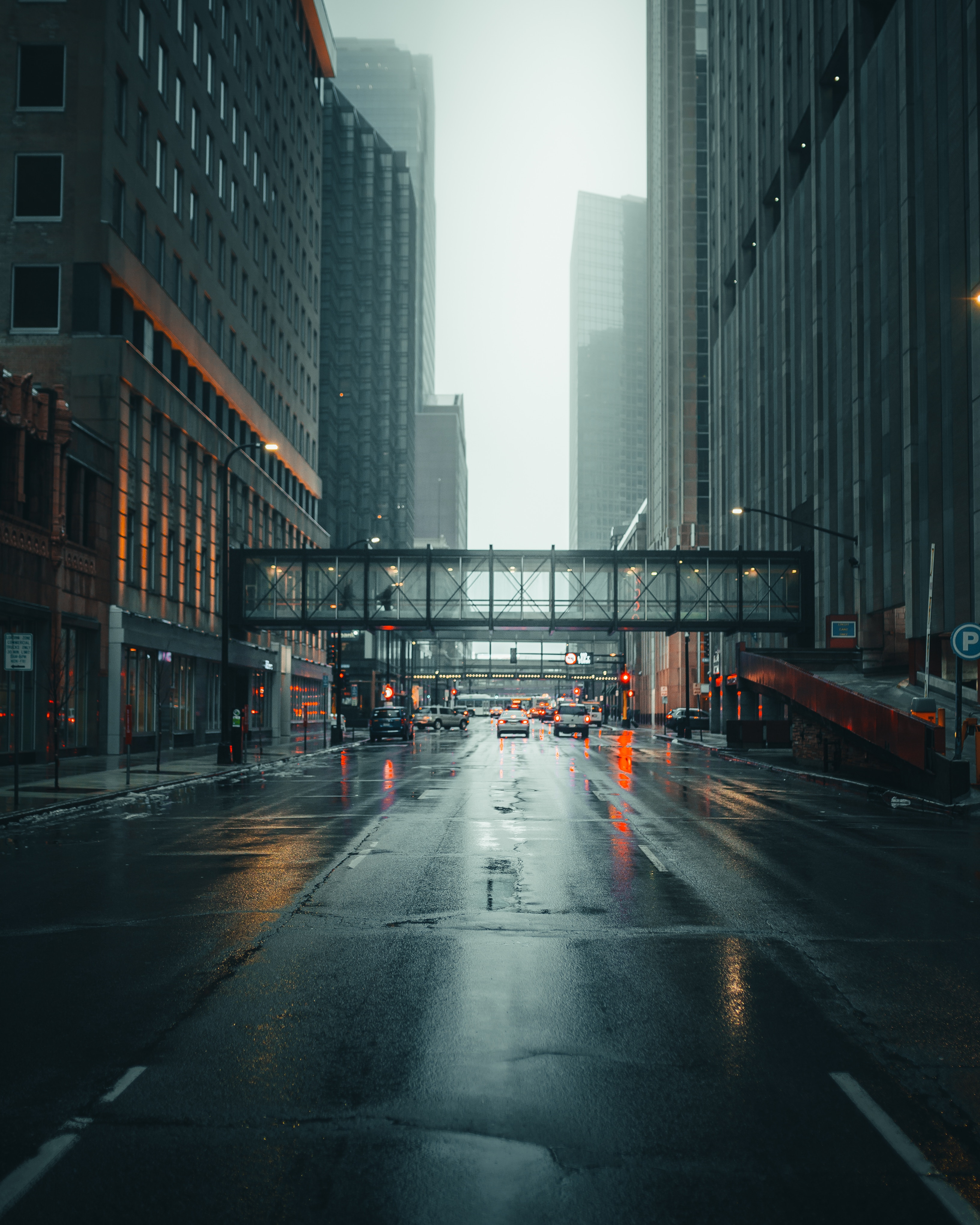 88303 Screensavers and Wallpapers Cities for phone. Download Architecture, Cities, Street, City, Fog, Traffic, Movement pictures for free