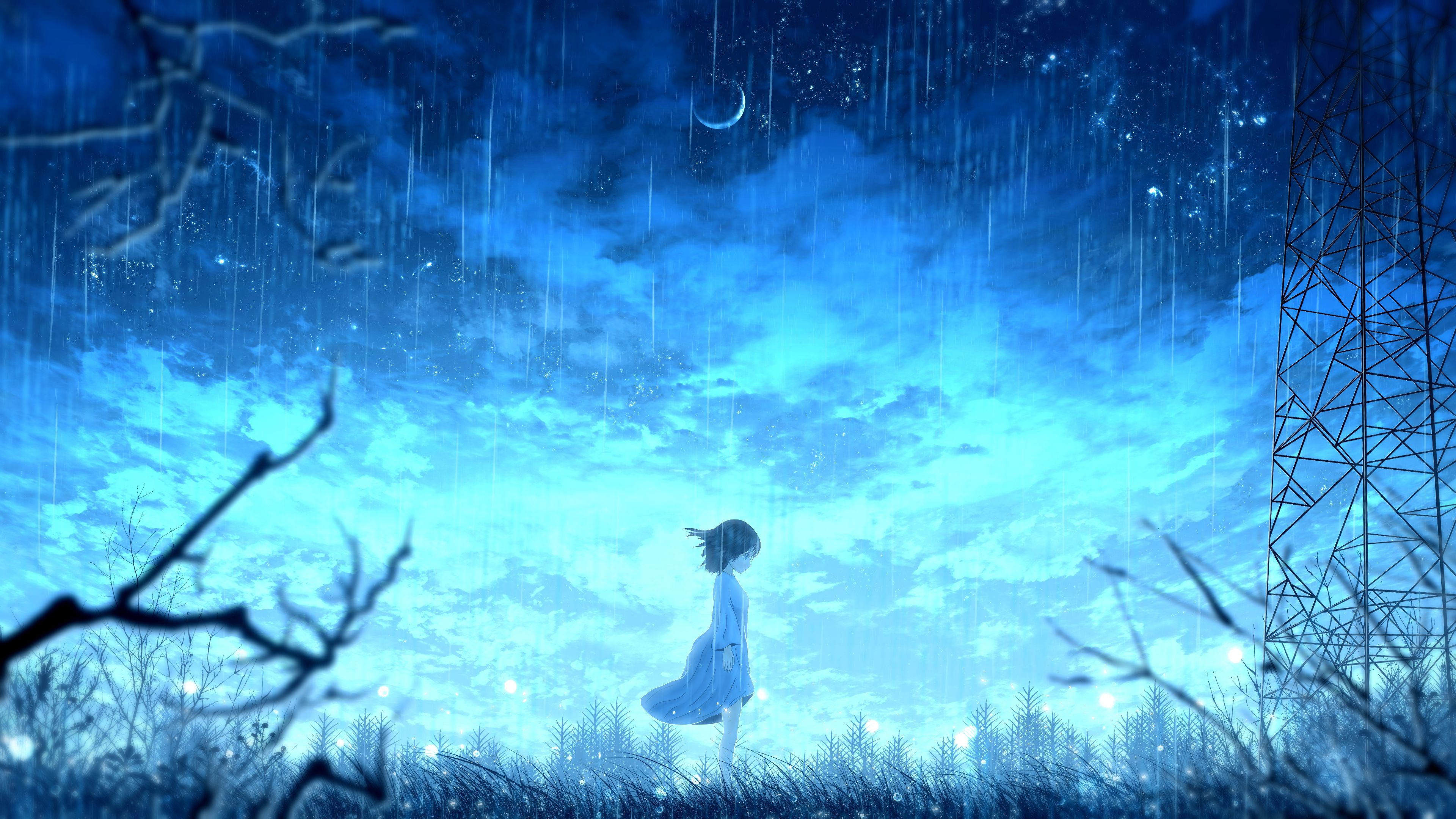 91053 download wallpaper Girl, Rain, Anime, Shine, Light, Bright screensavers and pictures for free