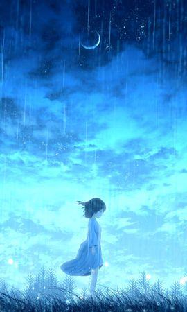 91053 скачать обои Девочка, Дождь, Аниме, Свет, Яркий - заставки и картинки бесплатно