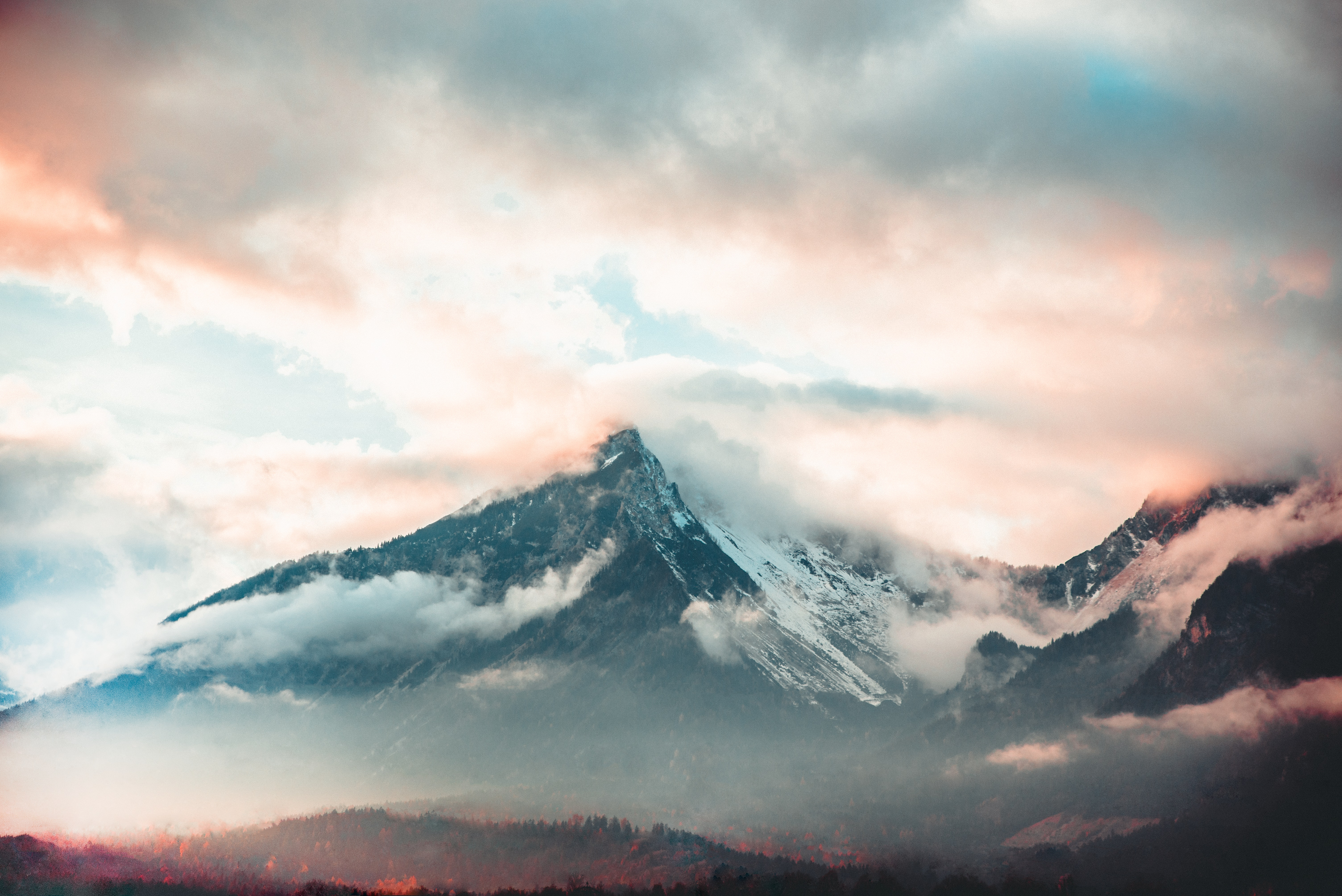 72796 download wallpaper Nature, Clouds, View From Above, Mountain, Vertex, Top, Peak, Fog screensavers and pictures for free