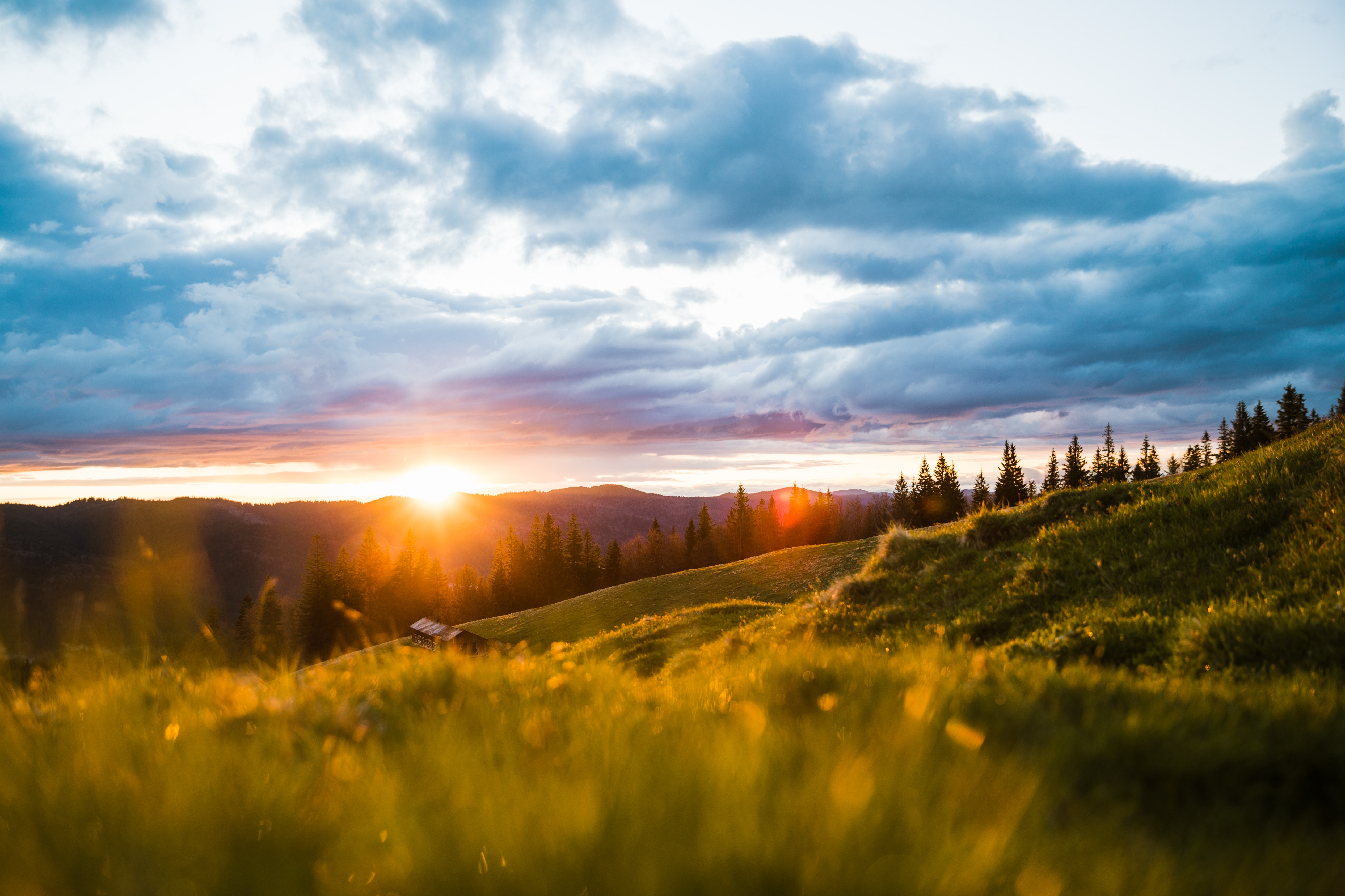 153156 Protetores de tela e papéis de parede Montanhas em seu telefone. Baixe Sol, Paisagem, Natureza, Árvores, Montanhas, Madrugada, Luz Solar, Prado, Raios Solares fotos gratuitamente