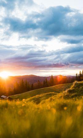 153156 télécharger le fond d'écran Nature, Pré, Arbres, Aube, Rayons De Soleil, Lumière Du Soleil, Montagnes, Sun, Paysage - économiseurs d'écran et images gratuitement