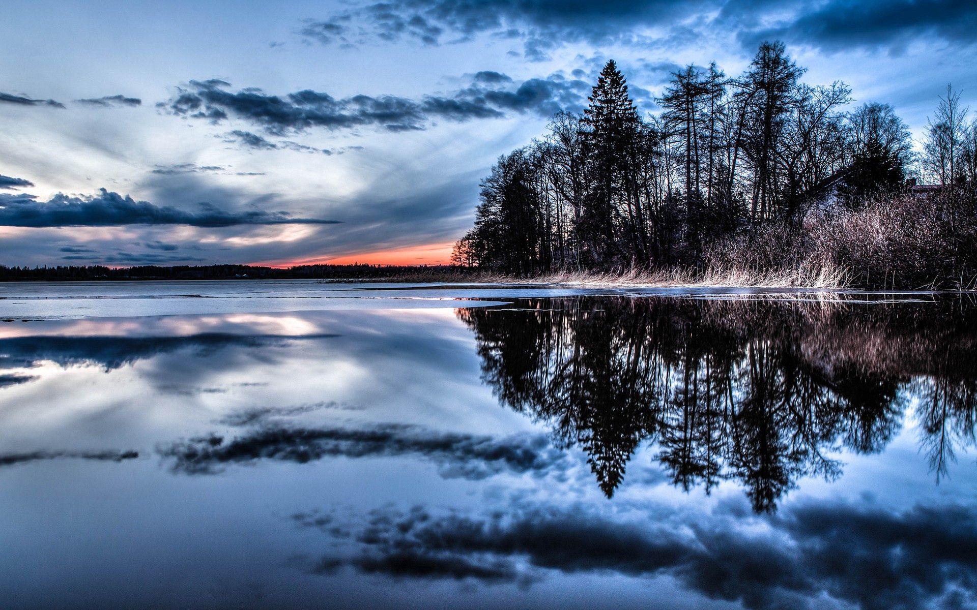 133406 скачать обои Природа, Озеро, Река, Деревья, Вечер - заставки и картинки бесплатно