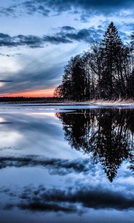 133406 Заставки и Обои Река на телефон. Скачать Природа, Деревья, Озеро, Река, Вечер картинки бесплатно