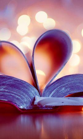 142329 télécharger le fond d'écran Amour, Livre, Un Cœur, Cœur, Pages, Page, Éblouissement, Éclat, Signet - économiseurs d'écran et images gratuitement