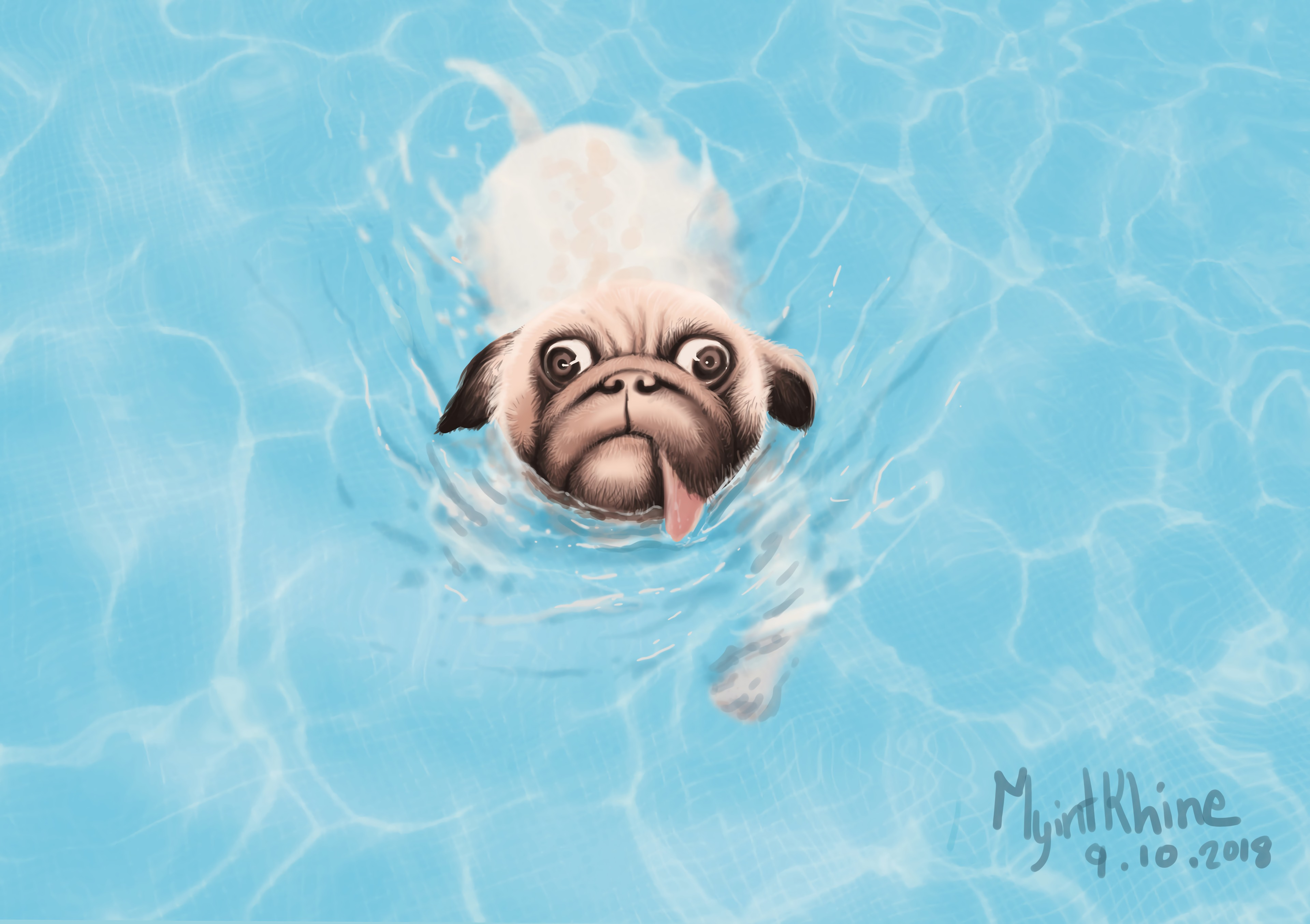 122295 download wallpaper Bulldog, Dog, Protruding Tongue, Tongue Stuck Out, Water, Art screensavers and pictures for free