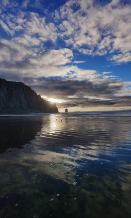 124722 скачать обои Природа, Море, Закат, Скала, Вода, Пляж, Птицы - заставки и картинки бесплатно