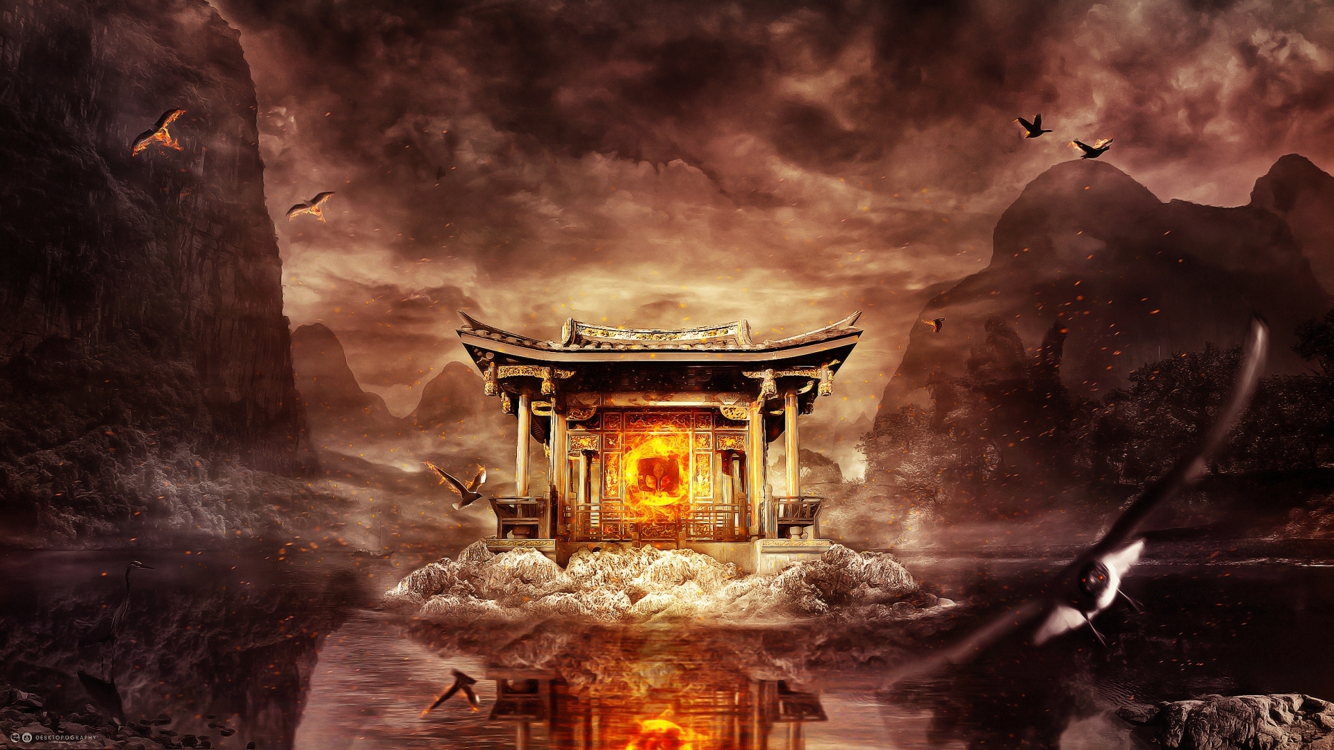 24050 download wallpaper Landscape, Houses, Fantasy, Mountains, Fire, Lakes screensavers and pictures for free