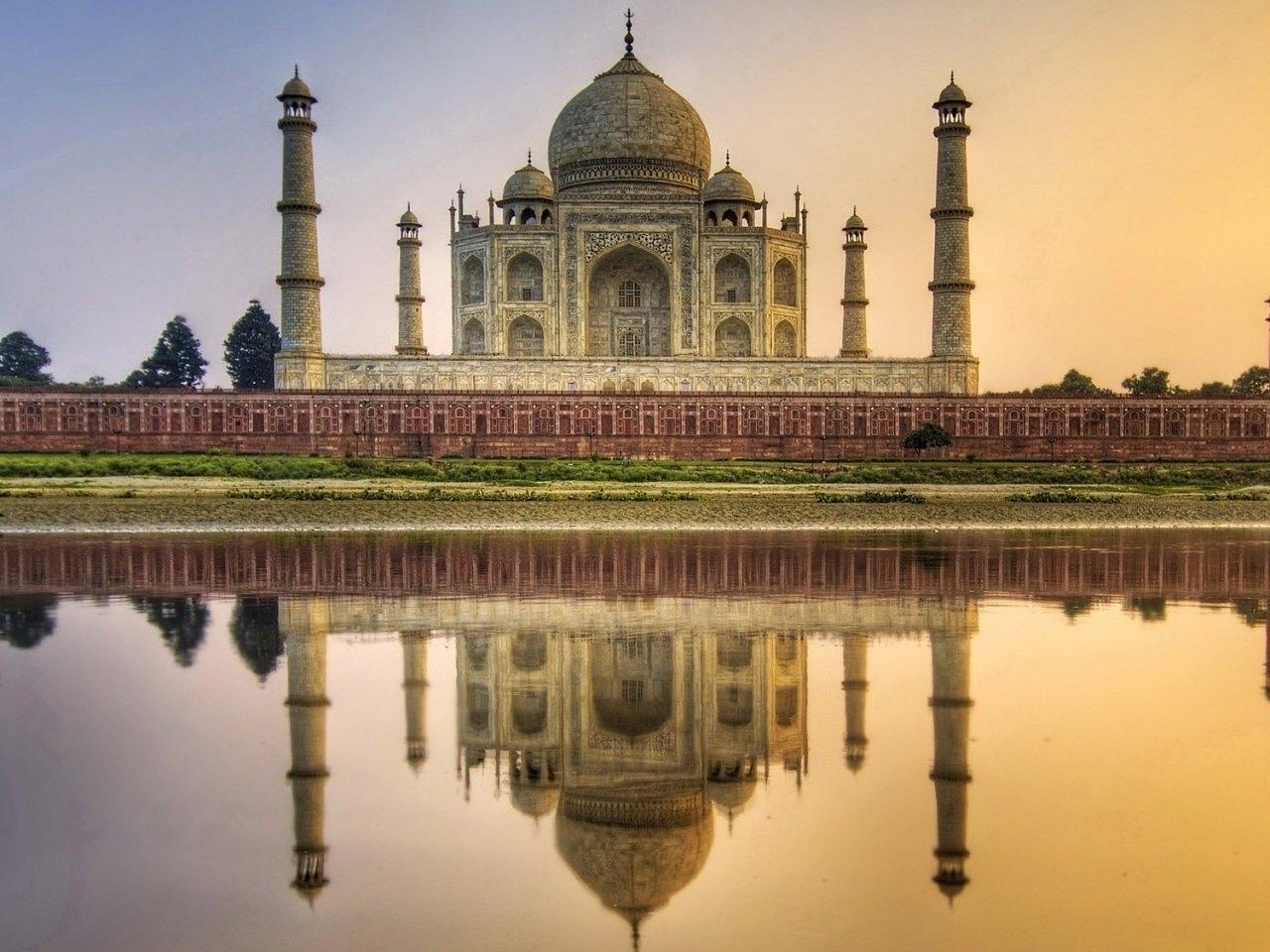 23885 скачать обои Пейзаж, Река, Архитектура, Тадж Махал (Taj Mahal) - заставки и картинки бесплатно