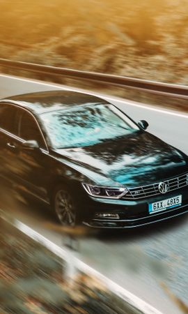 97852 Screensavers and Wallpapers Volkswagen for phone. Download Cars, Volkswagen, Car, Business Class, Road, Asphalt, Traffic, Movement pictures for free