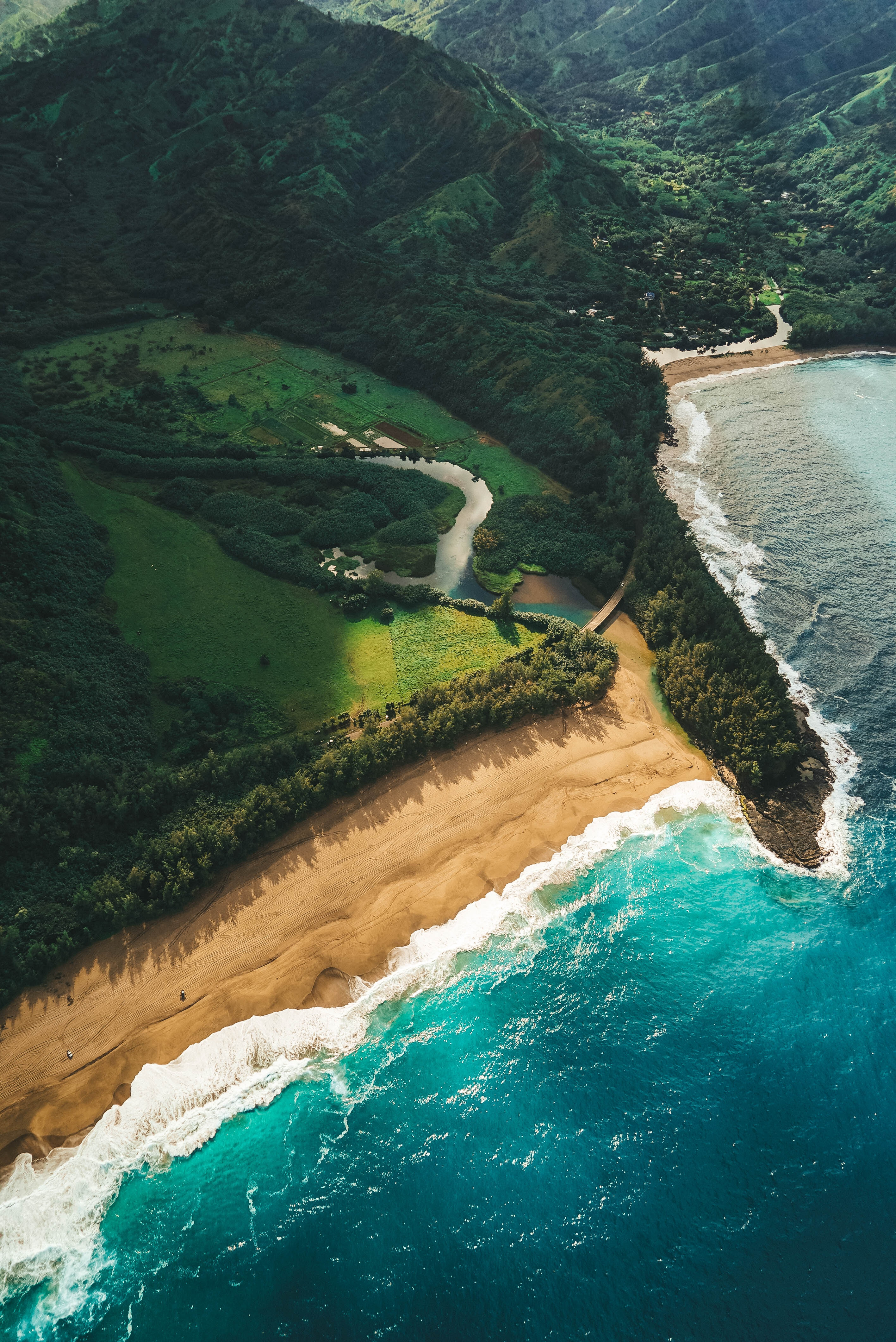 70068 download wallpaper Nature, Ocean, Beach, View From Above, Kauai, Hawaii screensavers and pictures for free