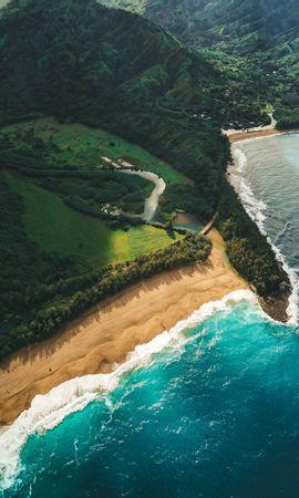70068壁紙のダウンロード自然, 海洋, 大洋, ビーチ, 上から見る, カウアイ, カウアイ 島, ハワイ-スクリーンセーバーと写真を無料で