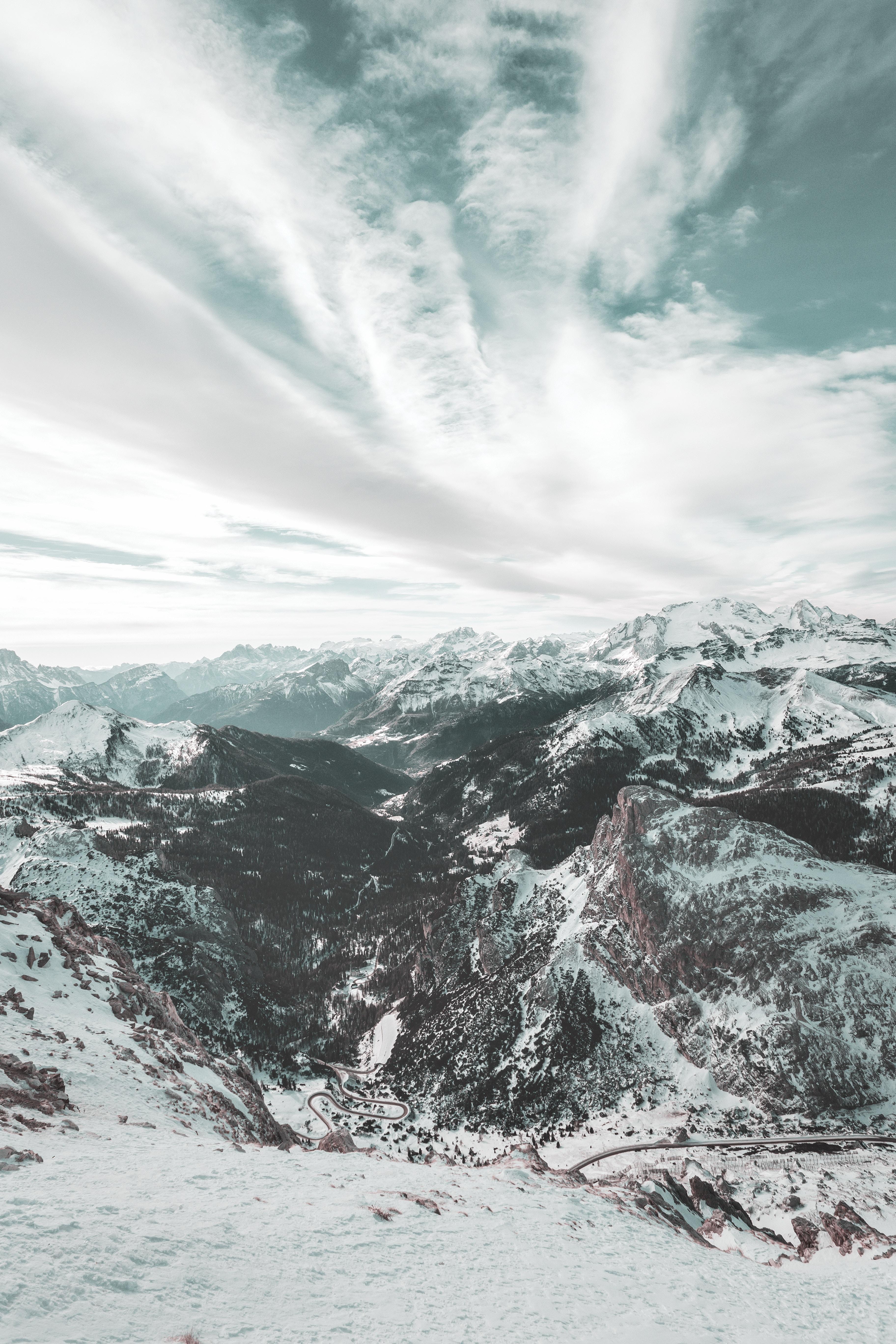 76224 скачать обои Италия, Зима, Природа, Небо, Горы, Облака, Снег, Вид Сверху, Доломитовые Альпы - заставки и картинки бесплатно