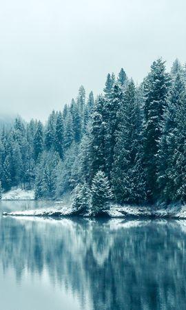26052 télécharger le fond d'écran Paysage, Hiver, Rivières, Arbres, Neige, Sapins - économiseurs d'écran et images gratuitement