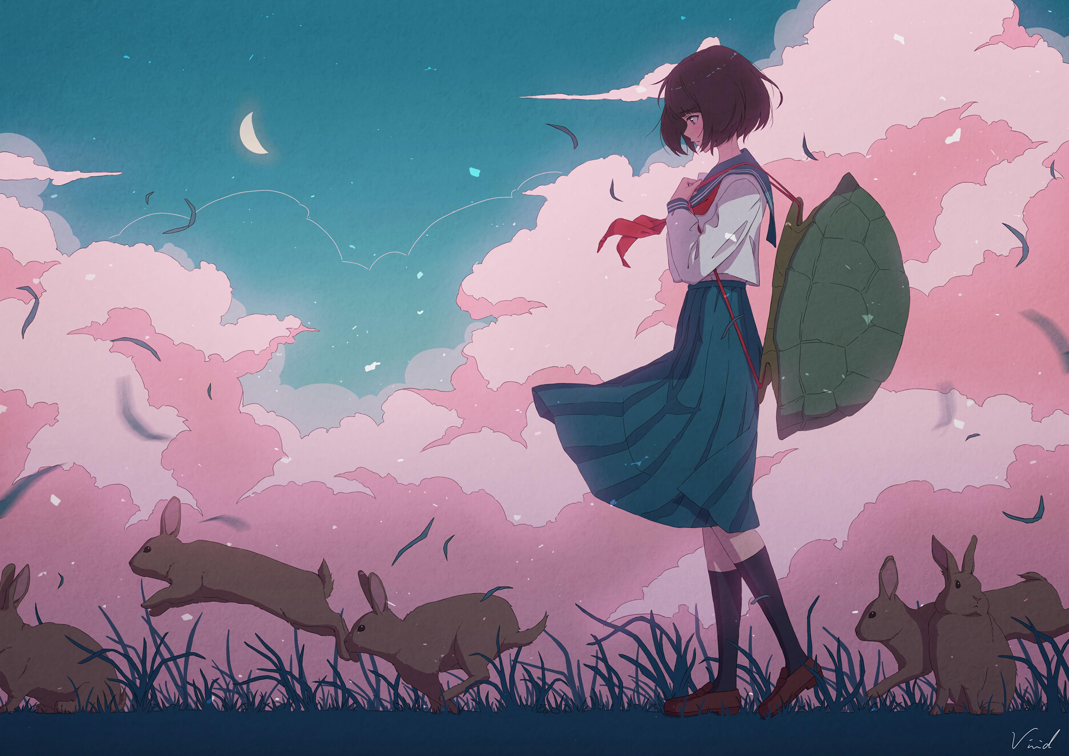 98702 Hintergrundbild herunterladen Mädchen, Anime, Panzer, Muschel, Hase - Bildschirmschoner und Bilder kostenlos