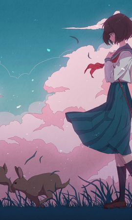 98702 download wallpaper Anime, Girl, Carapace, Shell, Hare screensavers and pictures for free