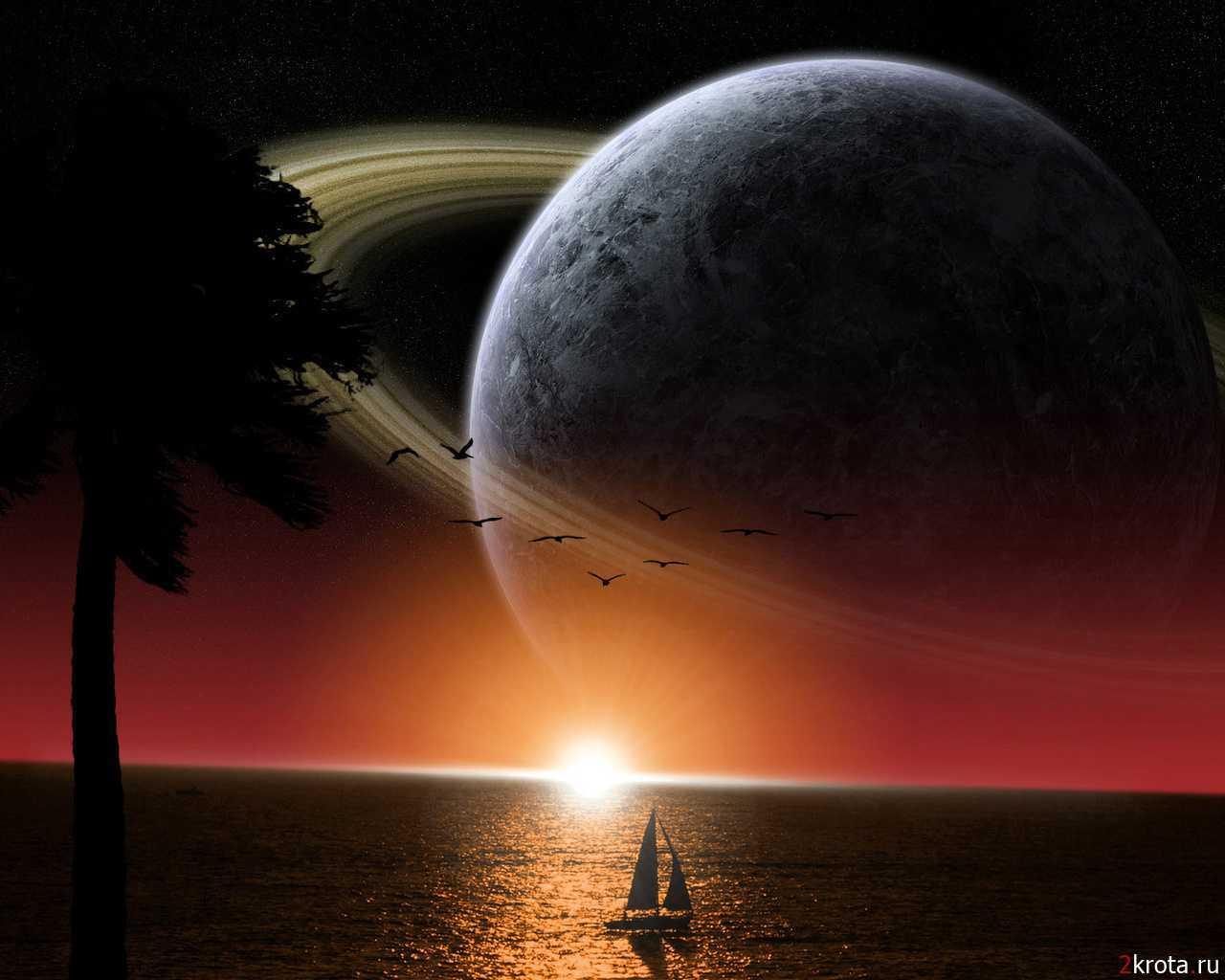6174 скачать обои Море, Фэнтези, Пейзаж, Планеты - заставки и картинки бесплатно