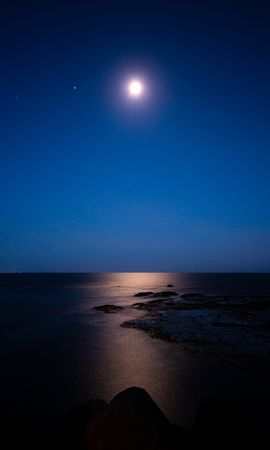 131998 télécharger le fond d'écran Nature, Nuit, Lune, Ciel Étoilé, Horizon, Mer, Etoiles - économiseurs d'écran et images gratuitement