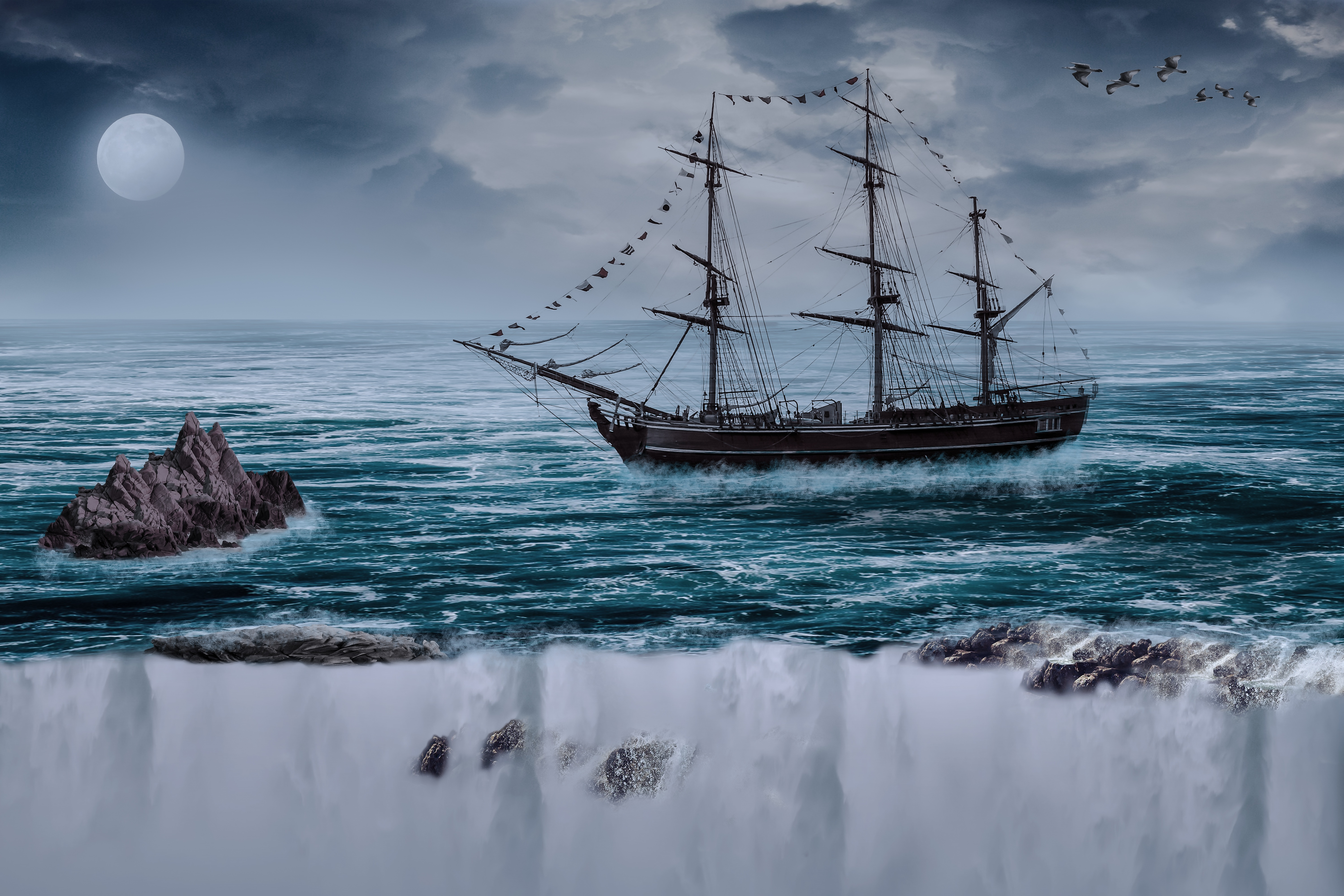145216 Screensavers and Wallpapers Photoshop for phone. Download Art, Sea, Waves, Break, Precipice, Photoshop, Sailboat, Vessel, Sailing Boat pictures for free
