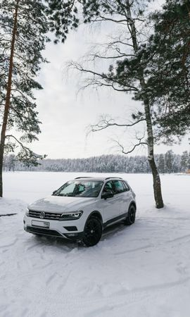 145109 Screensavers and Wallpapers Volkswagen for phone. Download Cars, Volkswagen Tiguan, Volkswagen, Car, Side View, Snow pictures for free