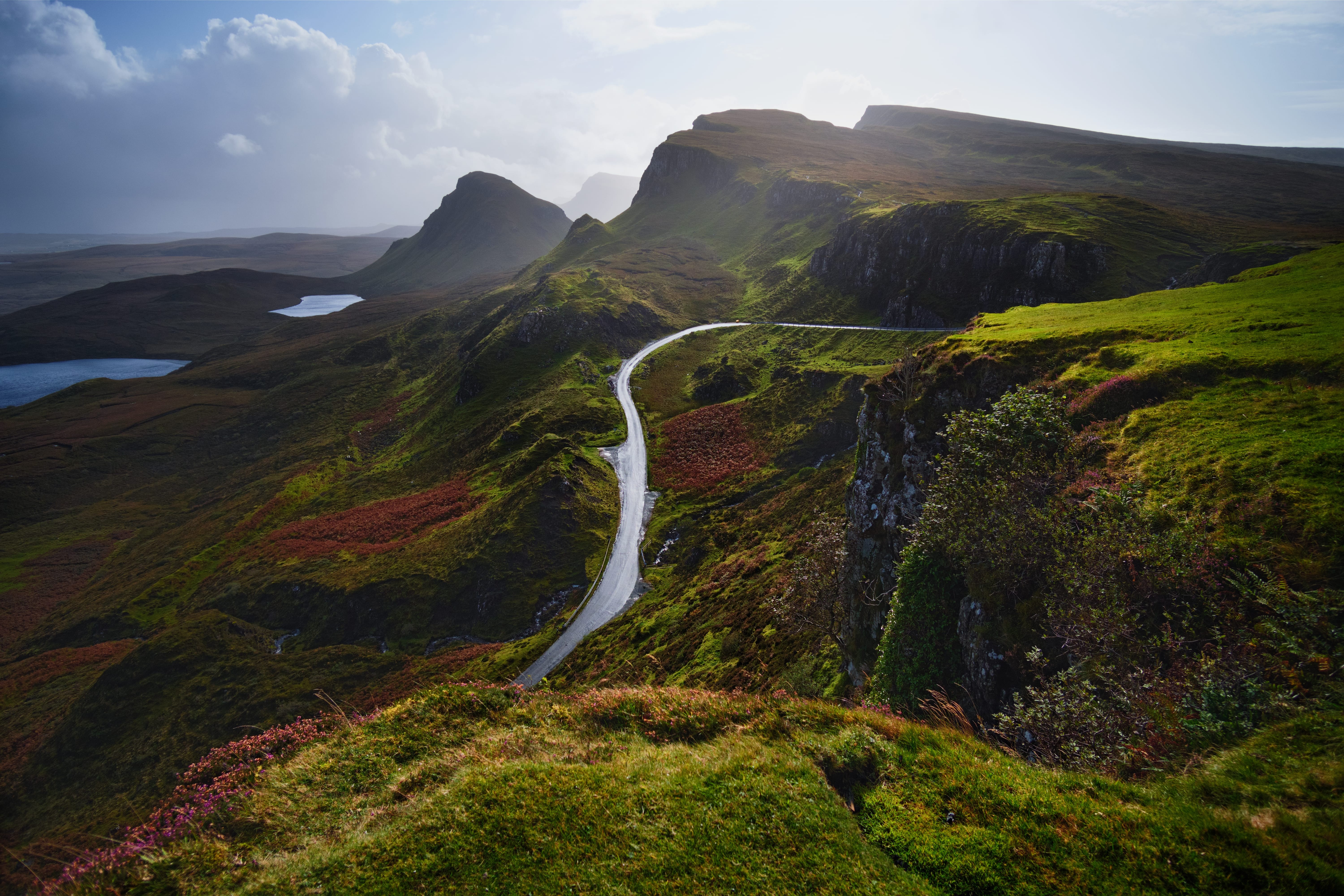 69975 download wallpaper Nature, Road, View From Above, Greens, Mountains, Landscape screensavers and pictures for free