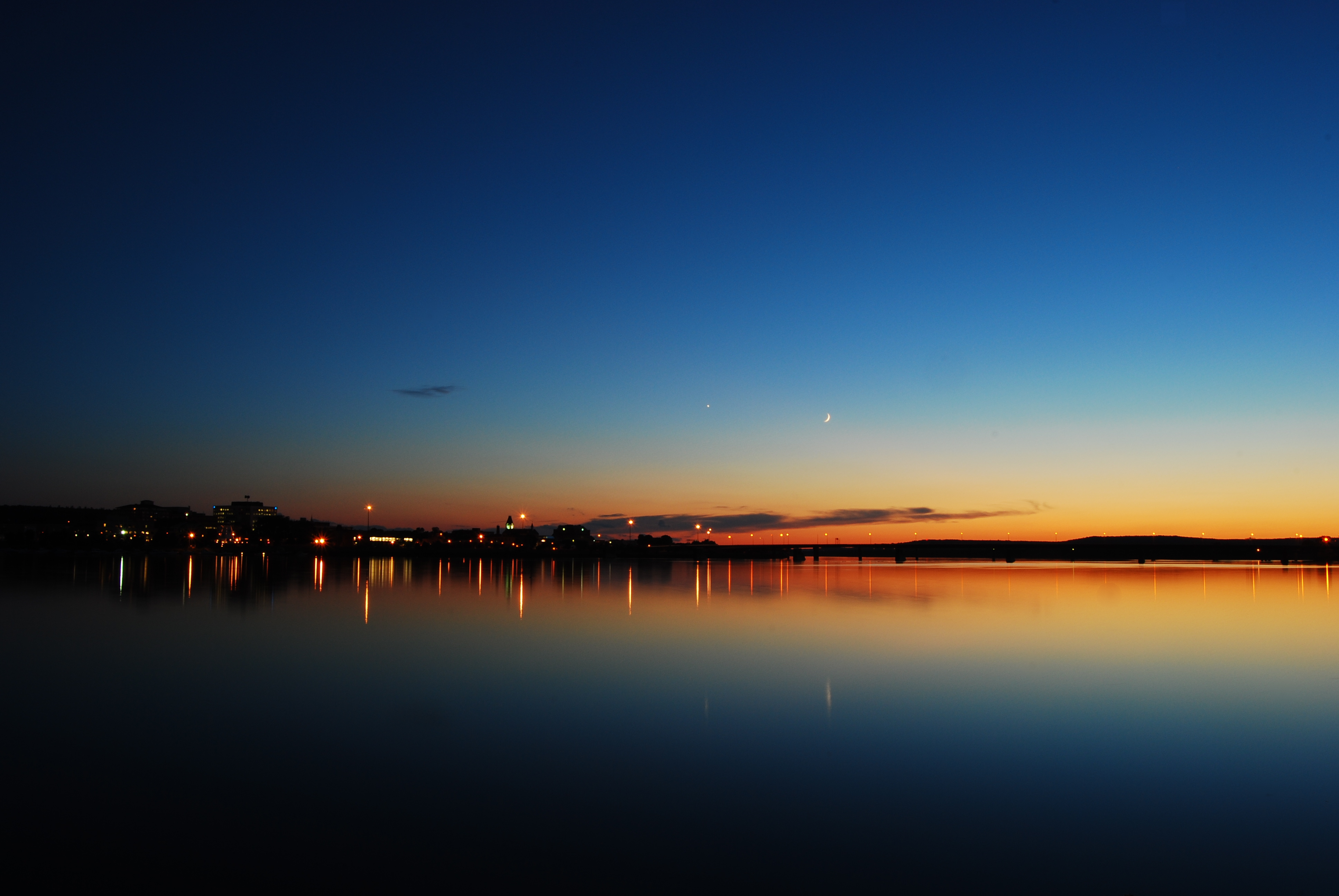 148816 Screensavers and Wallpapers Night City for phone. Download Nature, Sunset, Horizon, Lake, Canada, Night City, New Brunswick pictures for free