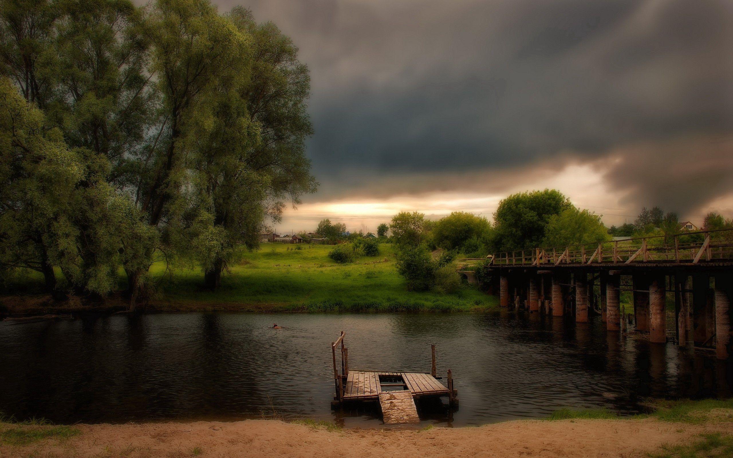 99197 скачать обои Природа, Река, Трава, Пирс, Hdr - заставки и картинки бесплатно
