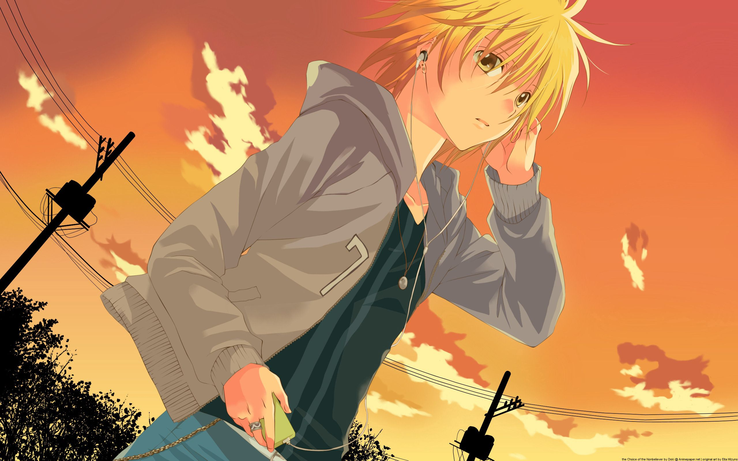 54291 download wallpaper Anime, Girl, Headphones, Sunset screensavers and pictures for free