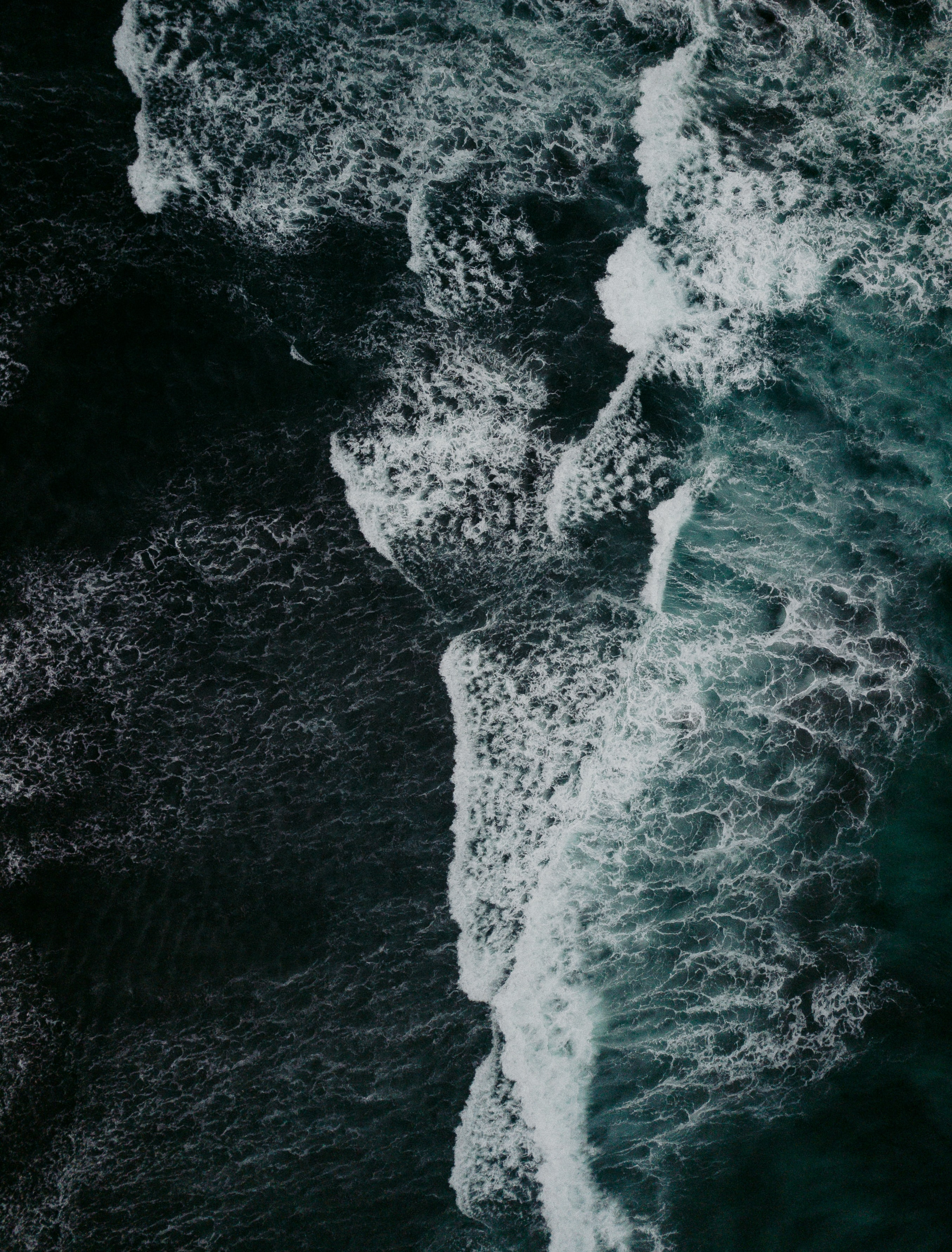 104414 download wallpaper Nature, Waves, View From Above, Foam, Storm screensavers and pictures for free
