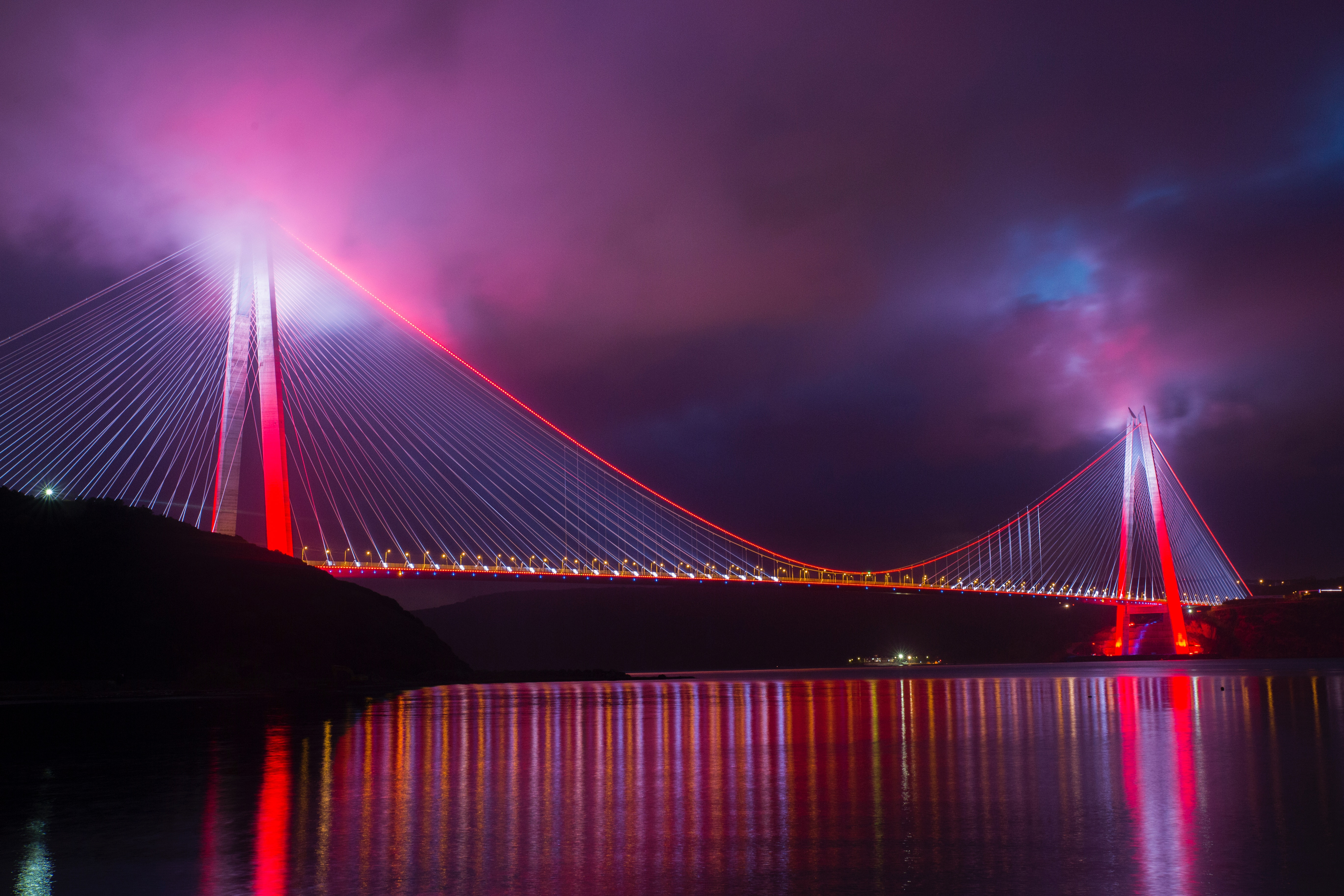 85478 Screensavers and Wallpapers Night City for phone. Download Design, Cities, Night City, Bridge, Construction, Backlight, Illumination, Turkey pictures for free